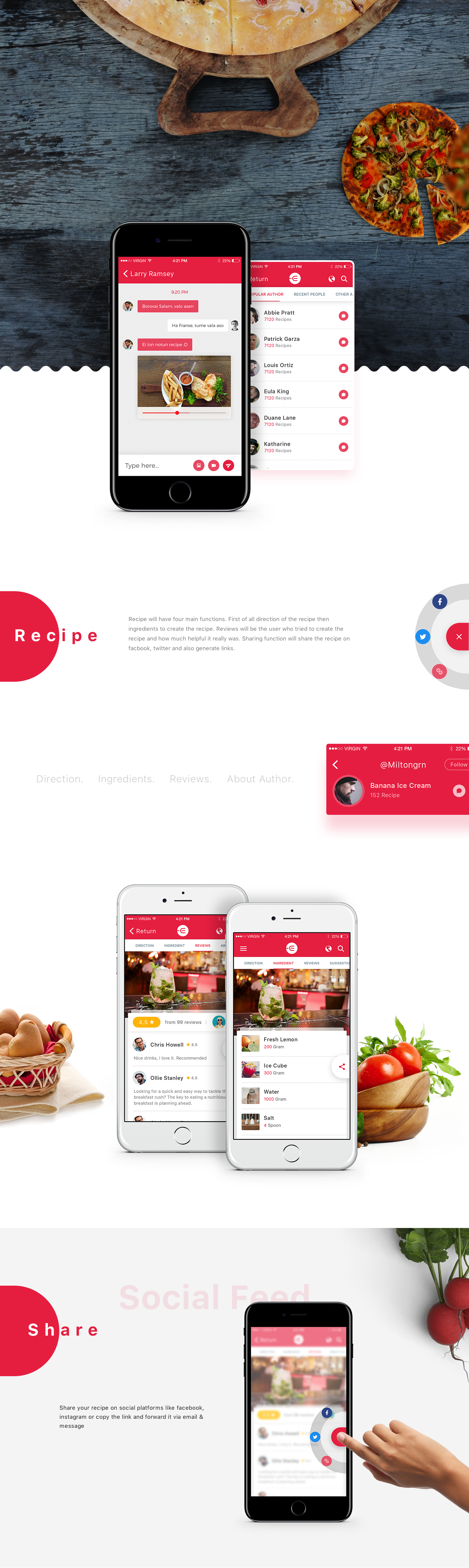 design Food  recipe psd freebie map ui kit splash minimal material
