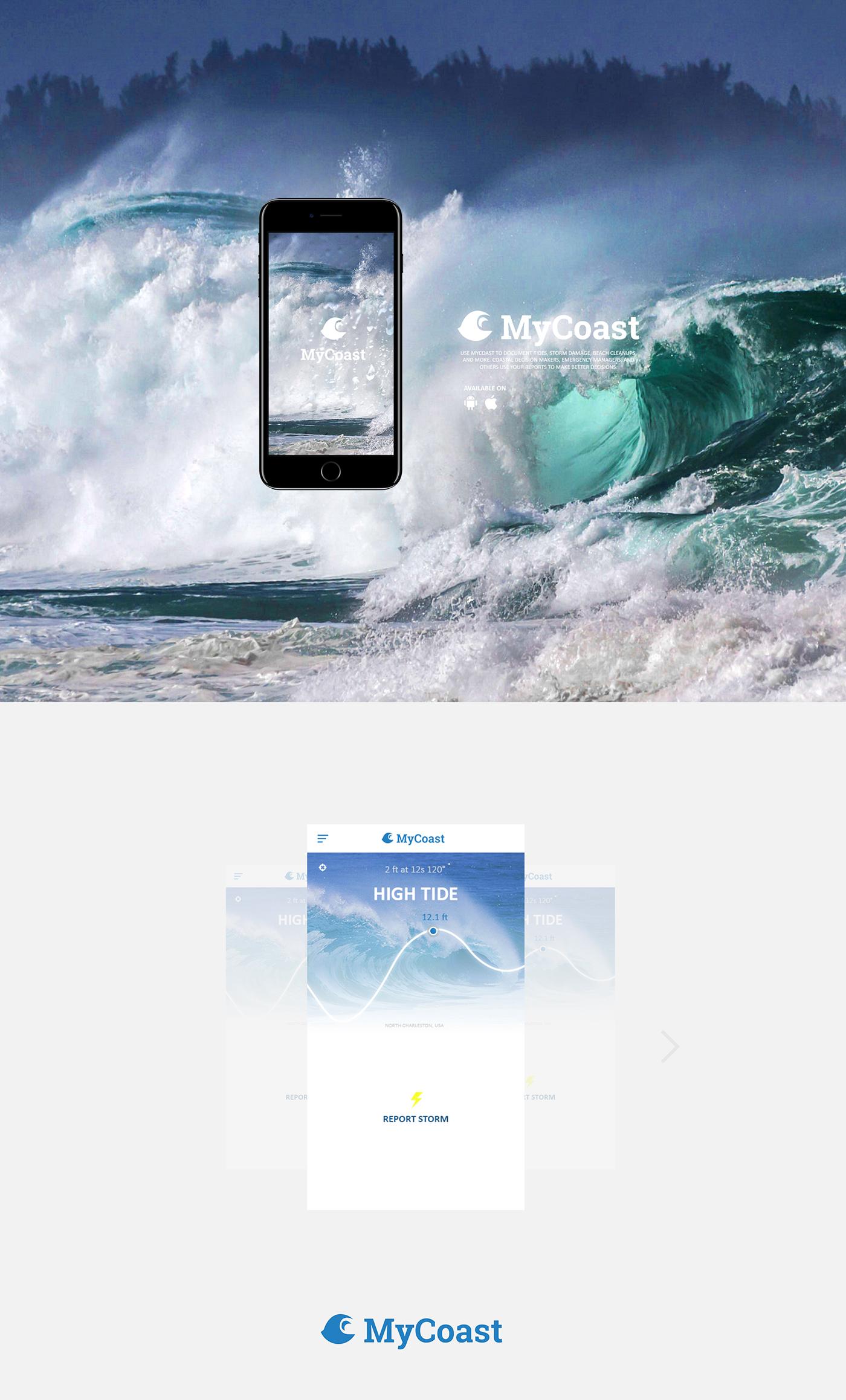 My Coast app design UI / UX mobile app weather