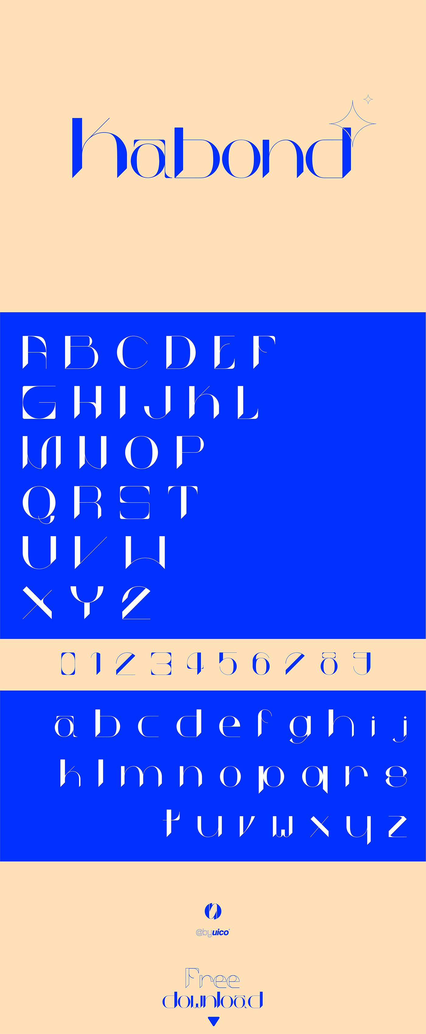bleu Bond font Free font typo Typographie