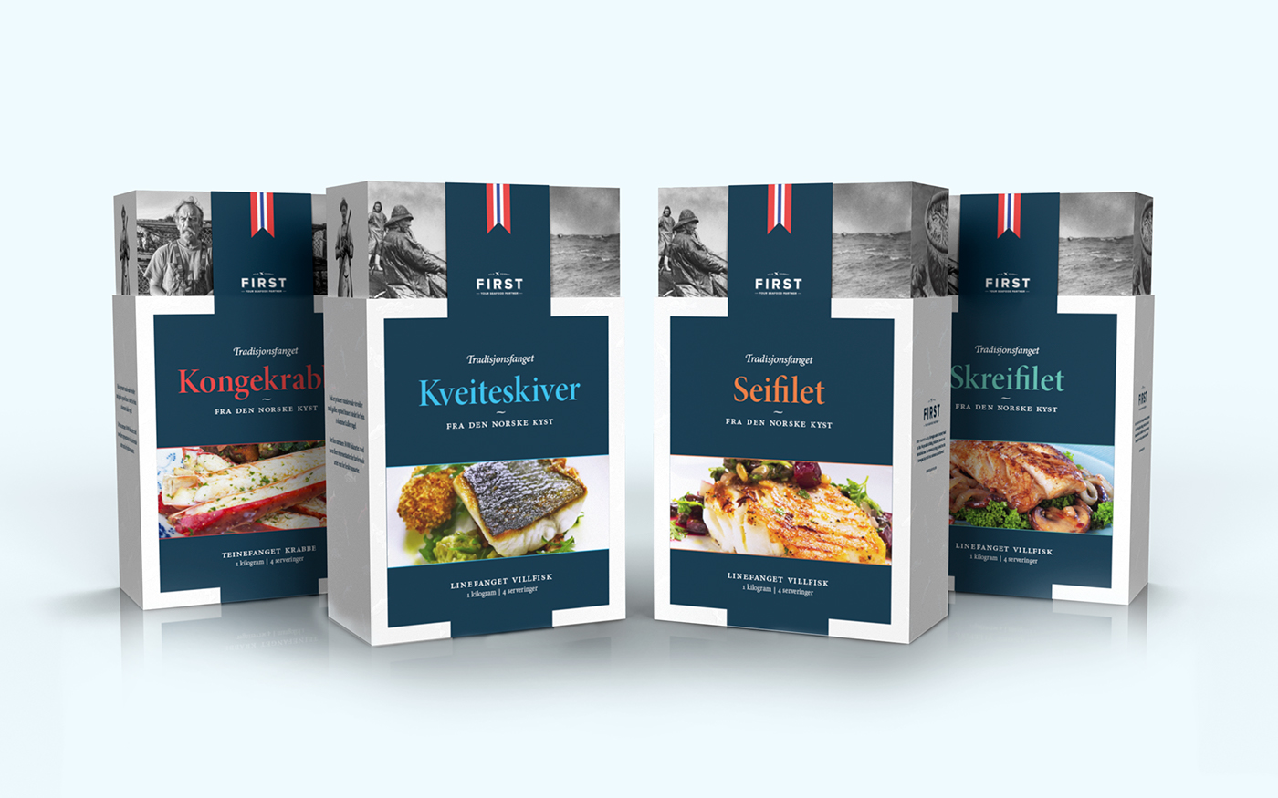 fish fish product norway seamen fishermen fish packaging Petter Myhr flag White blue 3D westerdals