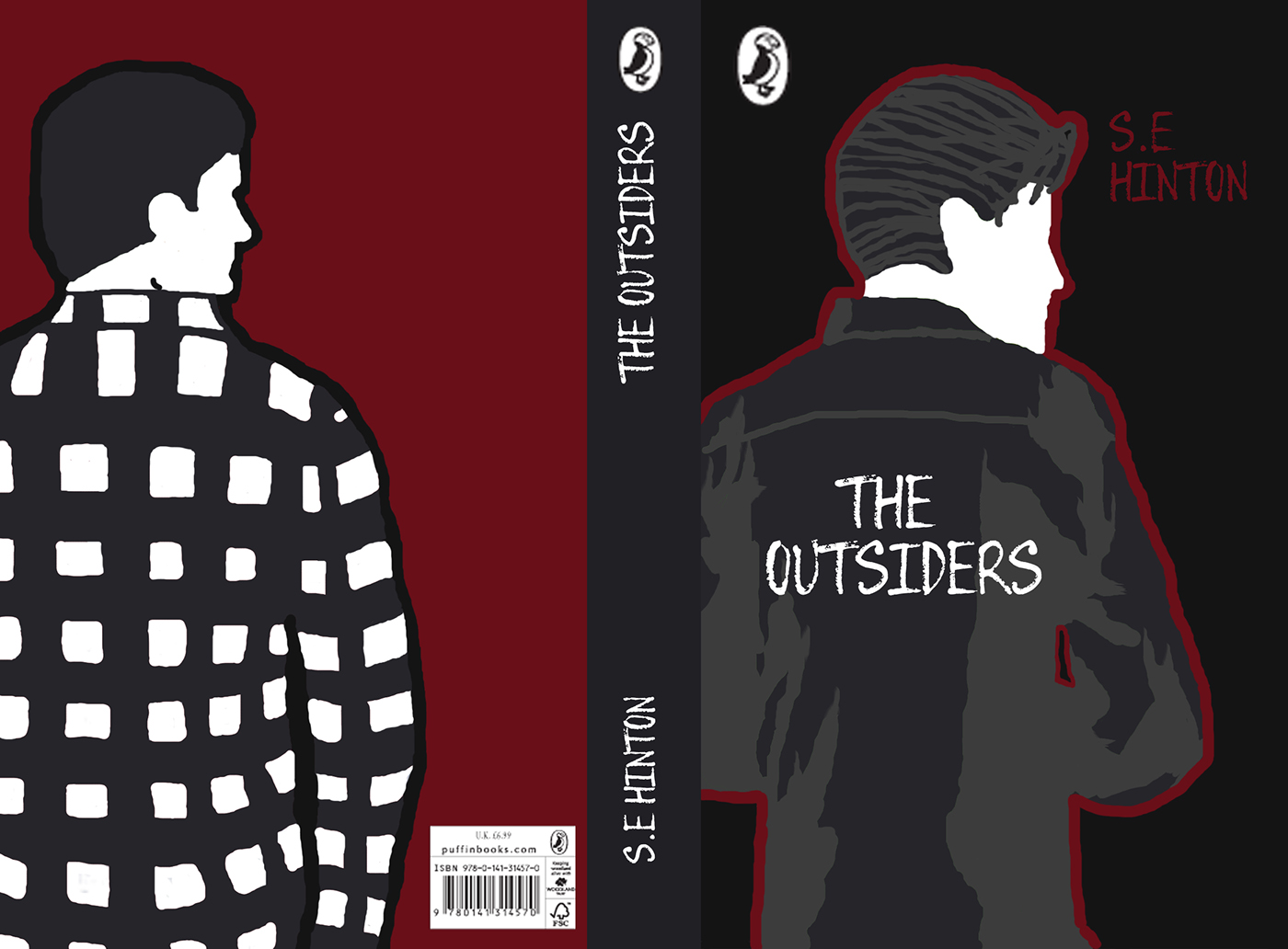 Book Jacket Project Ideas ~ The outsiders book cover front spine and back on behance