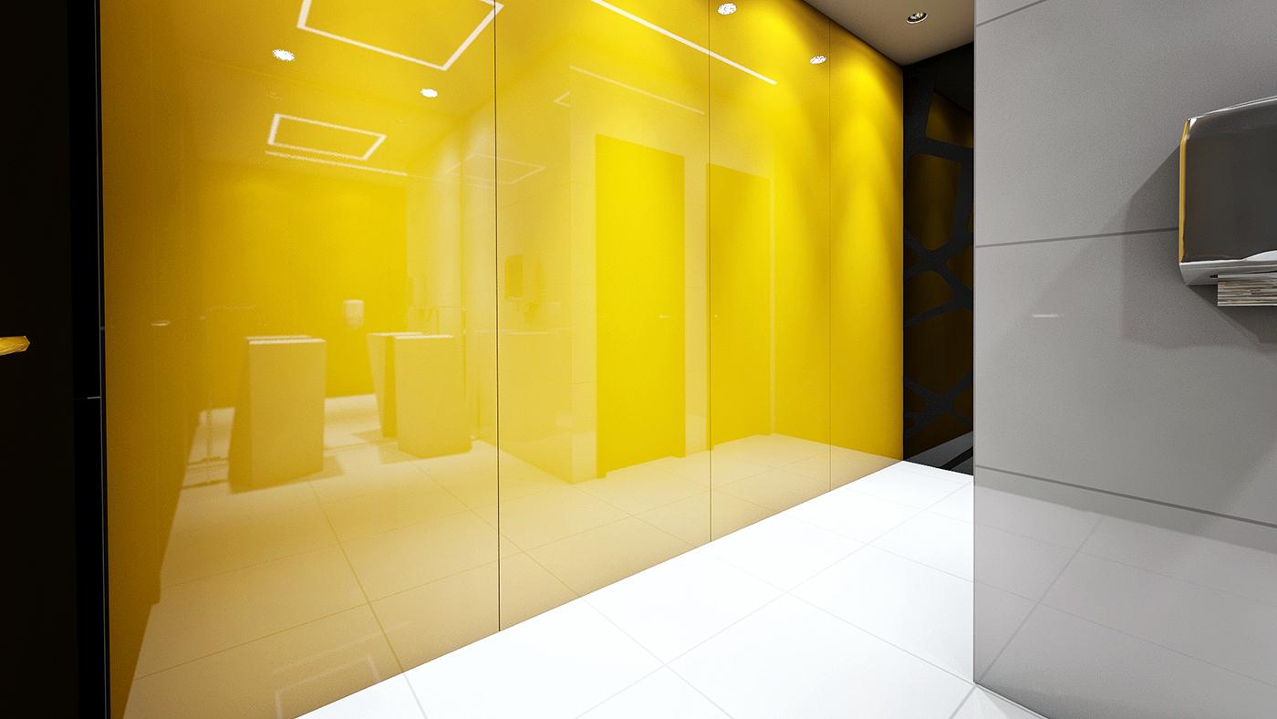 black and white monochrome bath LED design bathroom