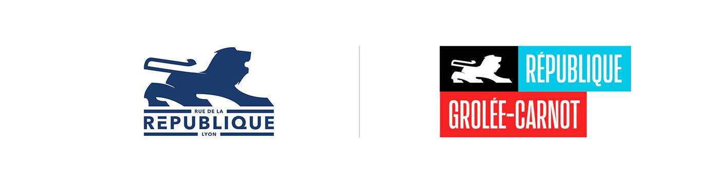 Street marketing   branding  logo red blue French lyon