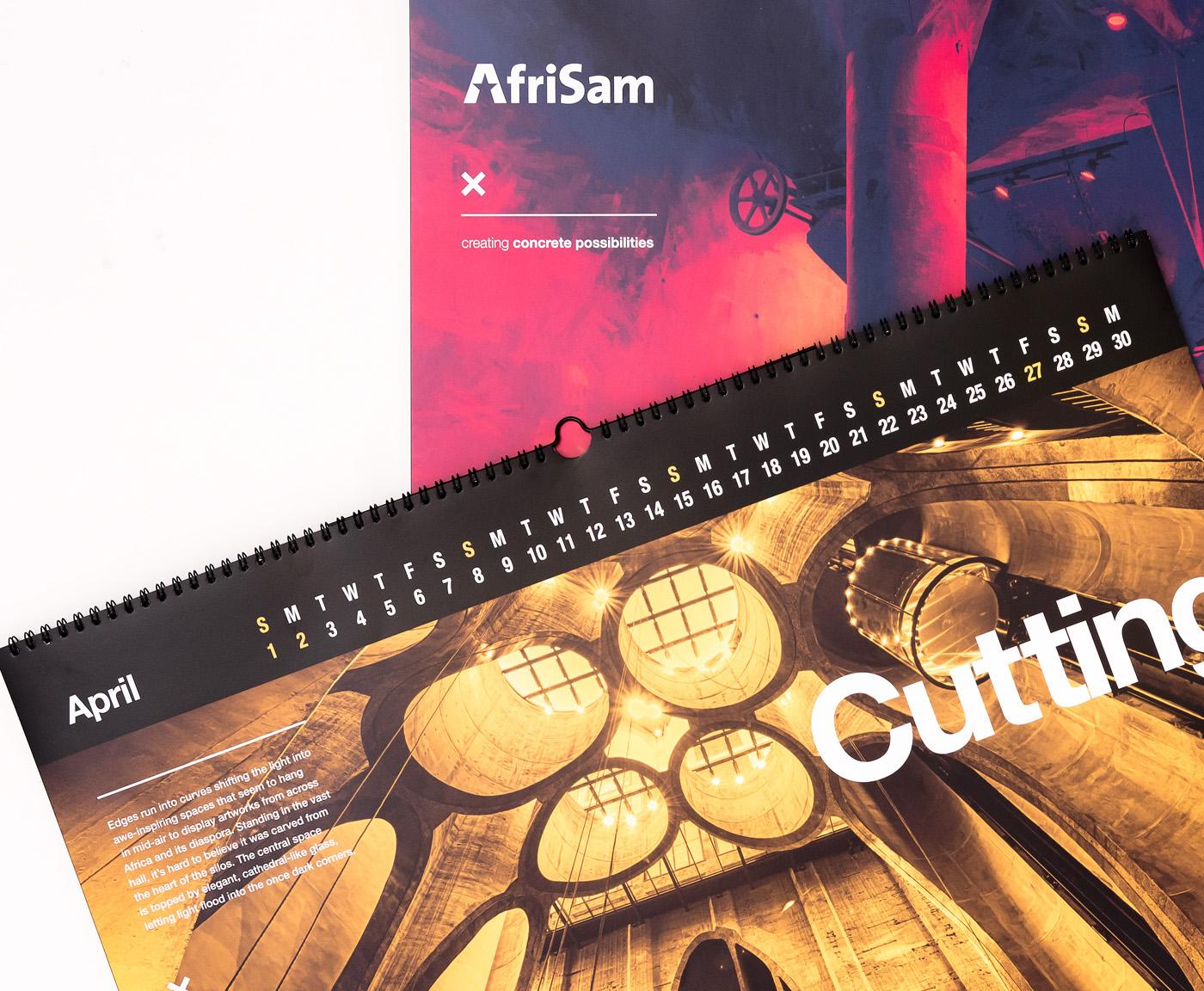 calendar print color Duotone details zeitz cape town Corporate Stationary afrisam