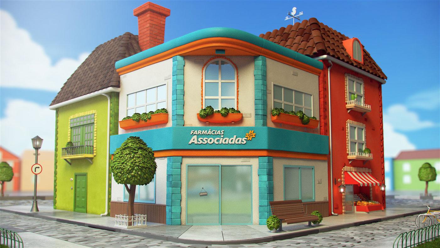 3D characters farmácias asssociadas Pé Grande minimalist