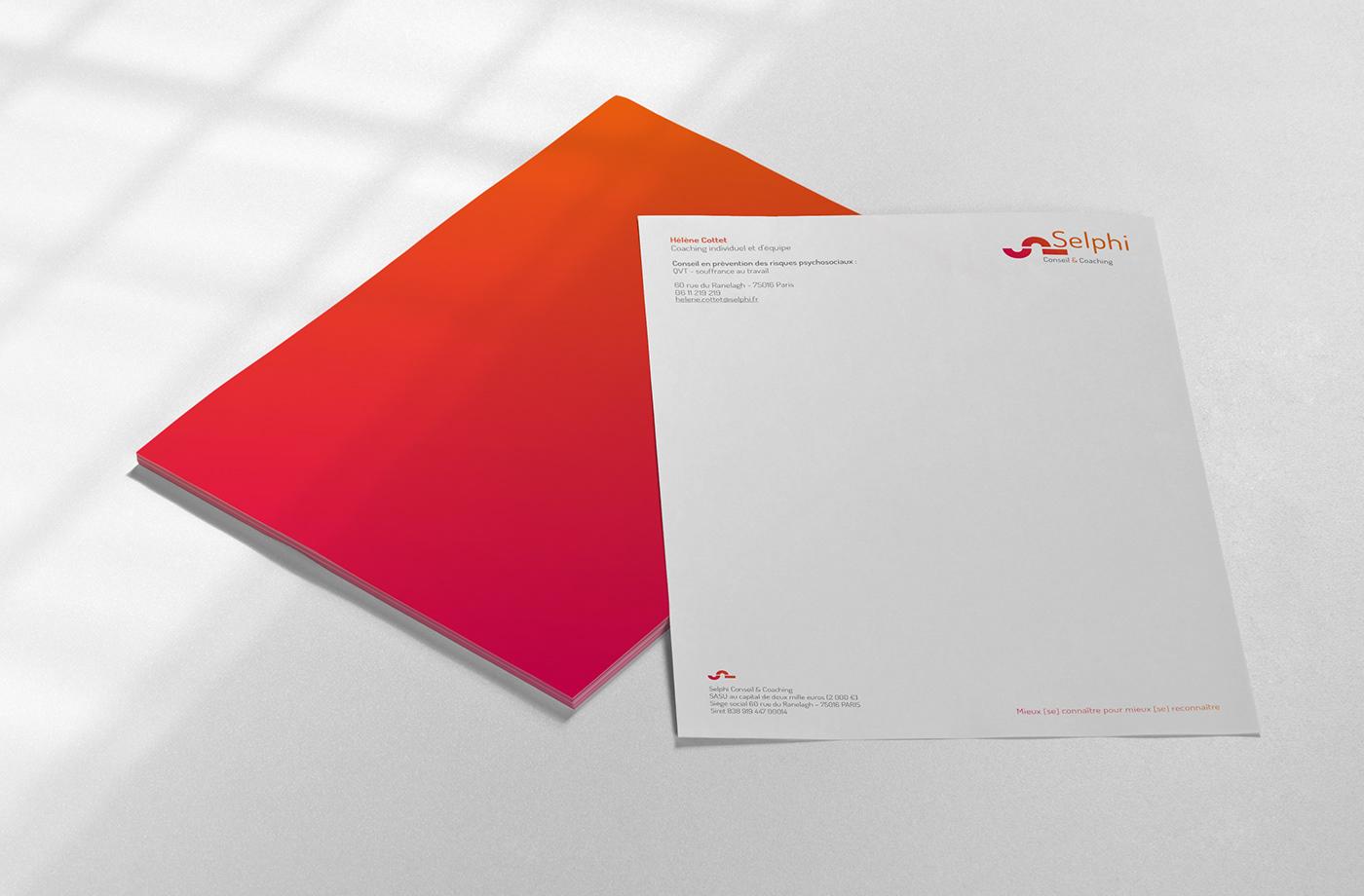 logo selphi coaching identité visuelle graphisme conseil direction artistique cartes de visites