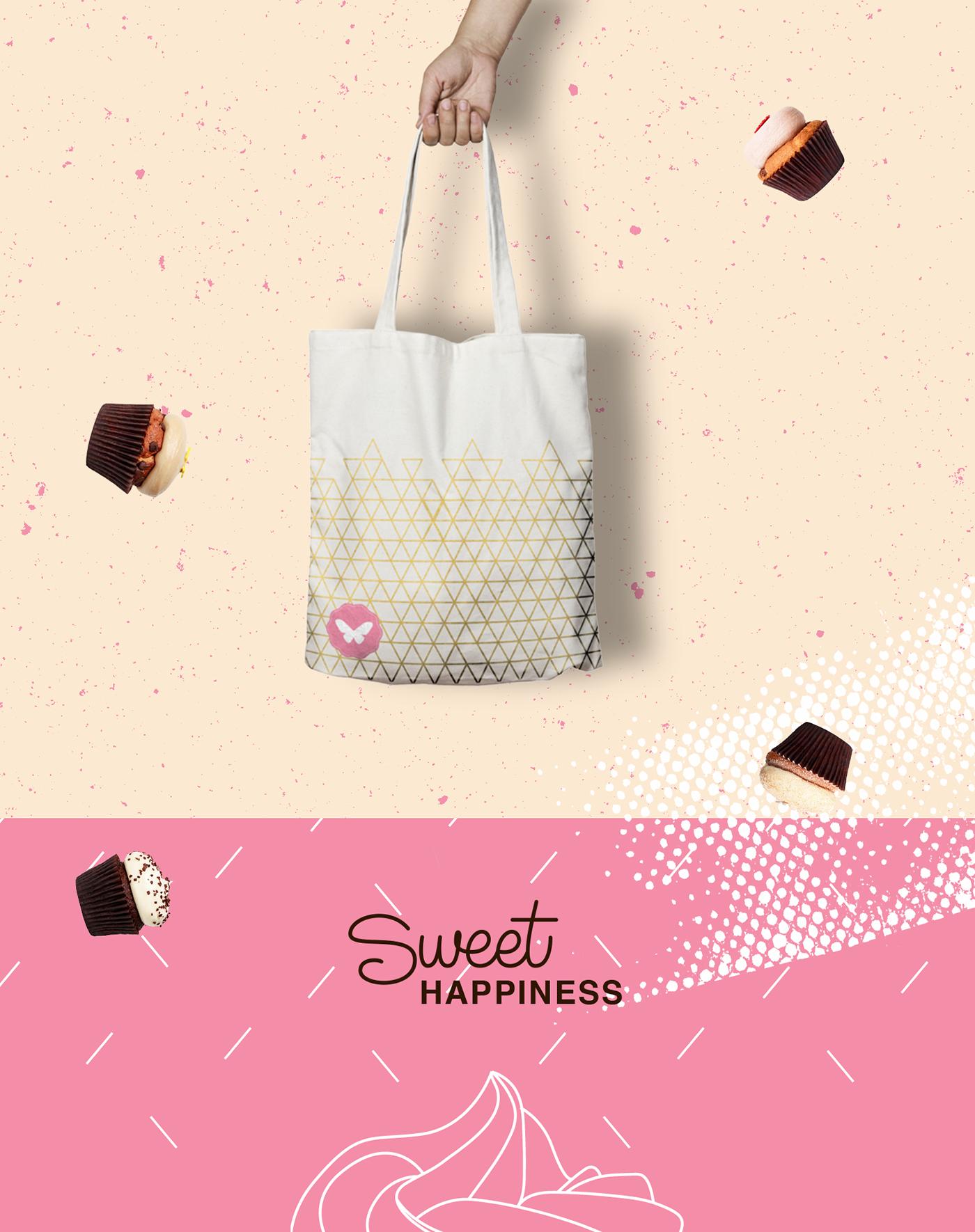 branding  bakery cupcakes sweet happiness pink csun viscom design