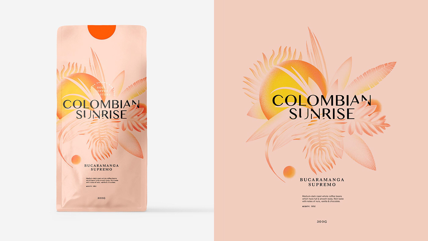 Packaging coffee packaging tropical illustration sunset Sunrise illustrated packaging Coffee coffee brand leaves pouch