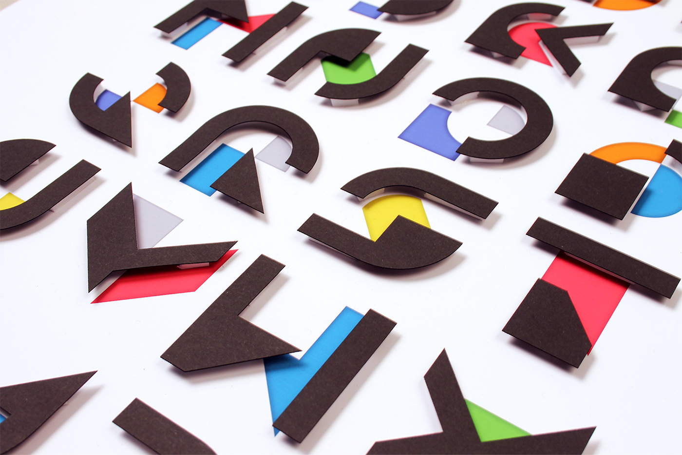 graphic design paper layers type font Display Typeface shapes geometric letters