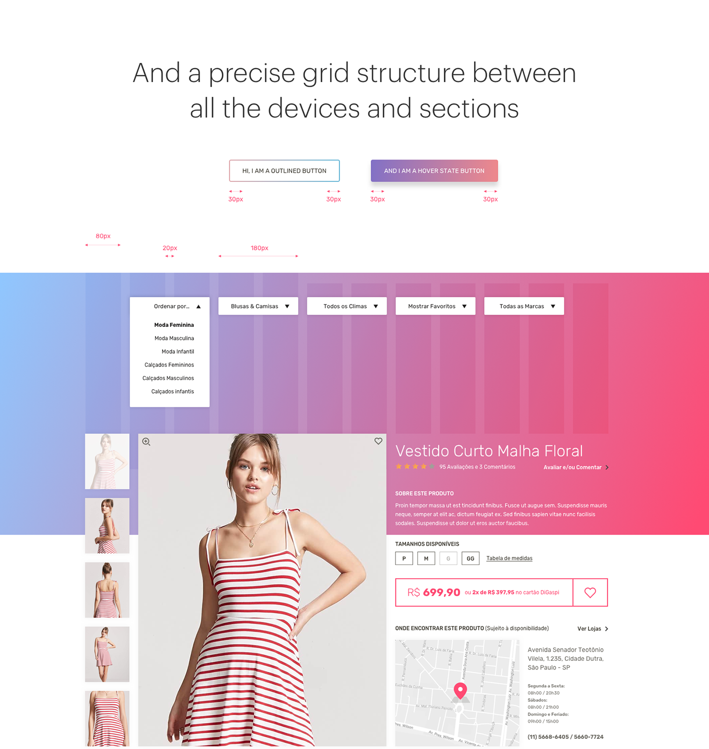 digaspi UI ux Fashion  moda interaction mobile tipografia grid Responsive