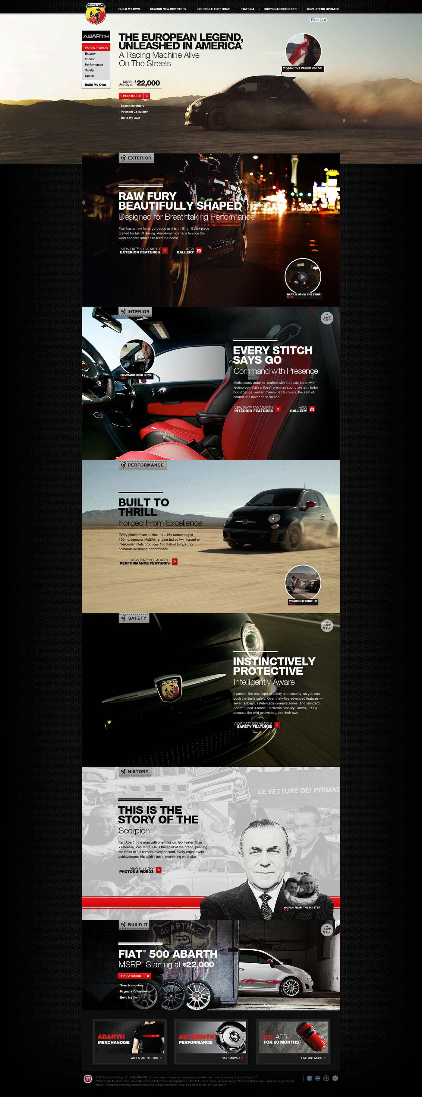 Fiat 500 Abarth Website Design on Behance