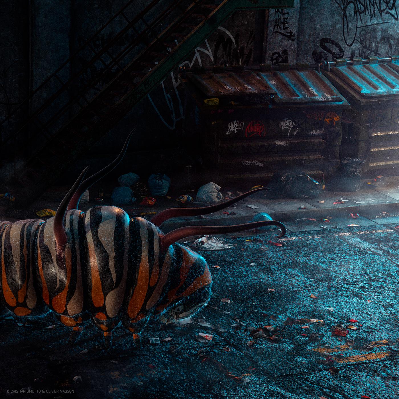 Caterpillar Digital Art  CGI 3D cristiangirotto  kafka passage Transformation art direction