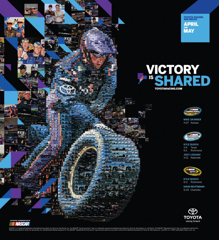 photomosaic visual design NASCAR advertisement Racing motor sports toyota Kyle Busch Camry tsevis image mosaic mozaix gestalt