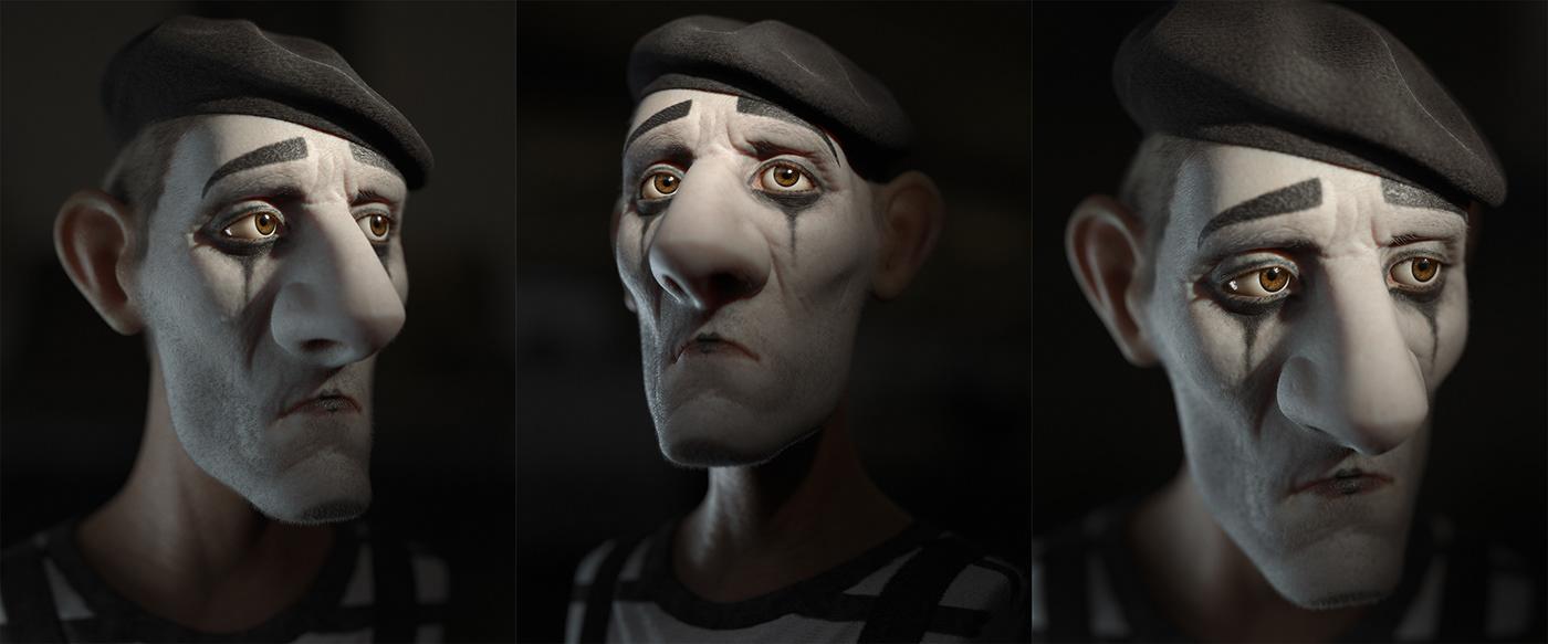Character cartoon realistic render Xgen 3d render cartoon character Mime clown Sadness expressive