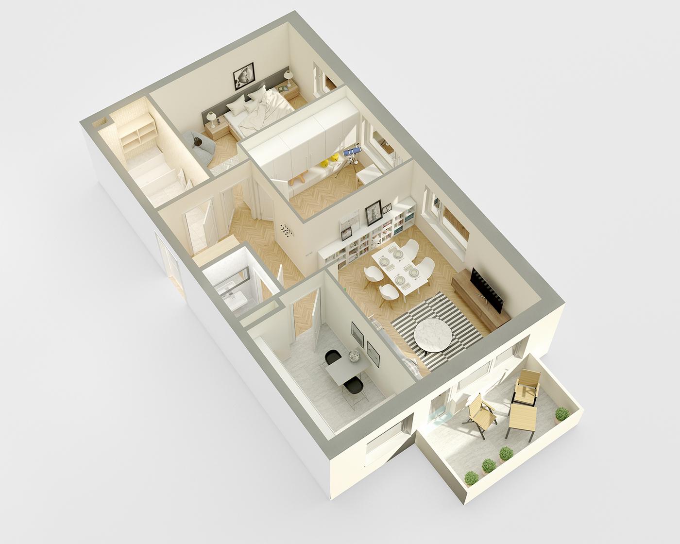 3D Renders FLOOR Plan visualisation