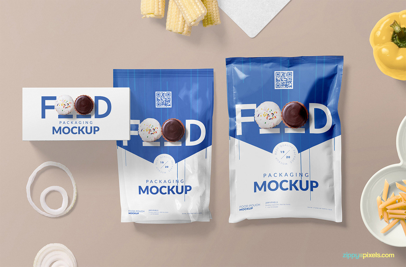 free freebie Mockup psd photoshop Packaging sachet pouch Food  branding
