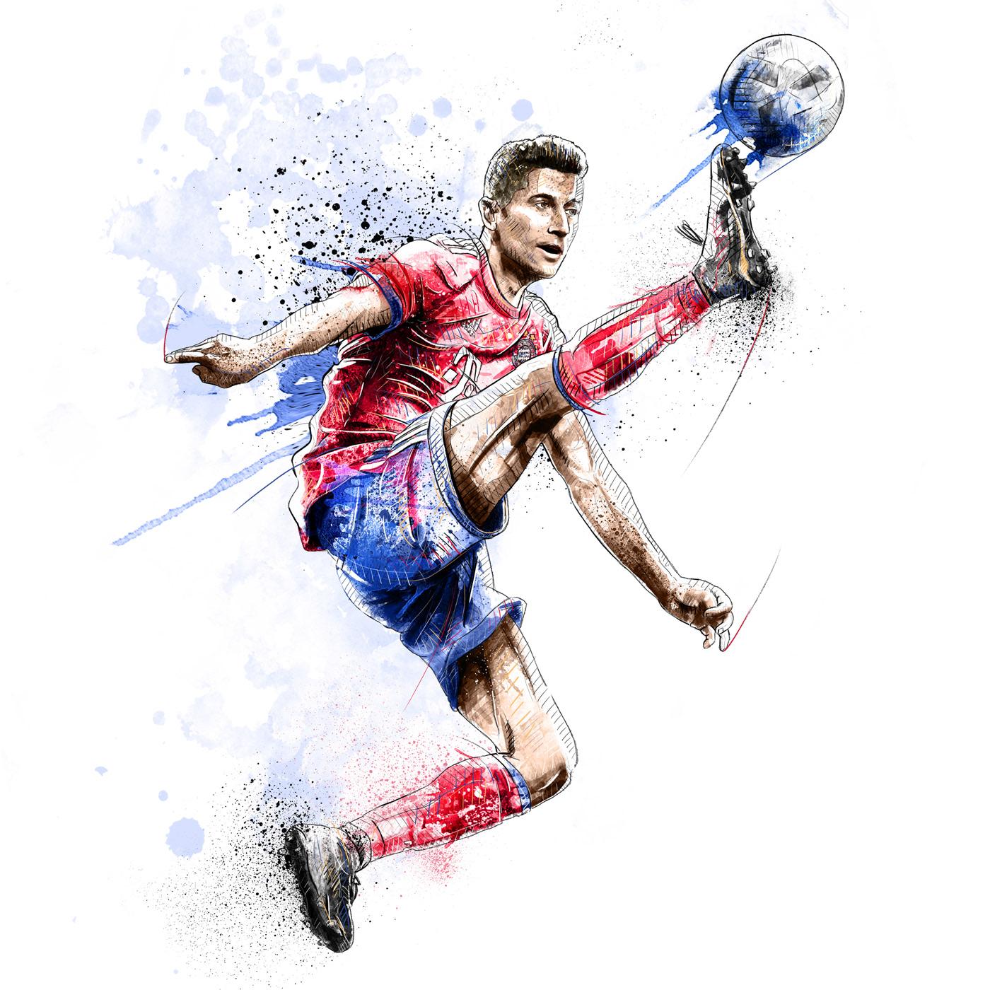 watercolor sport FC Bayern football soccer champions league sportive atheletes Dynamic portrait