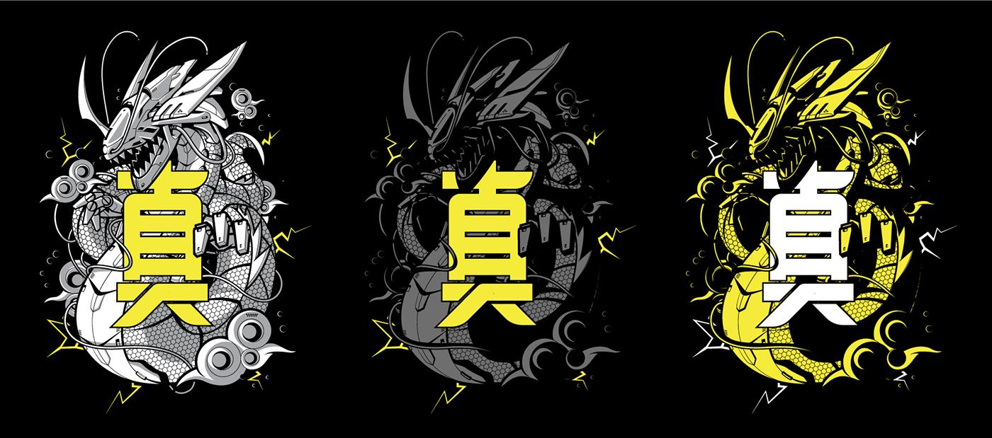 dragon mecha streetwear robots JapanStyle neotokyo