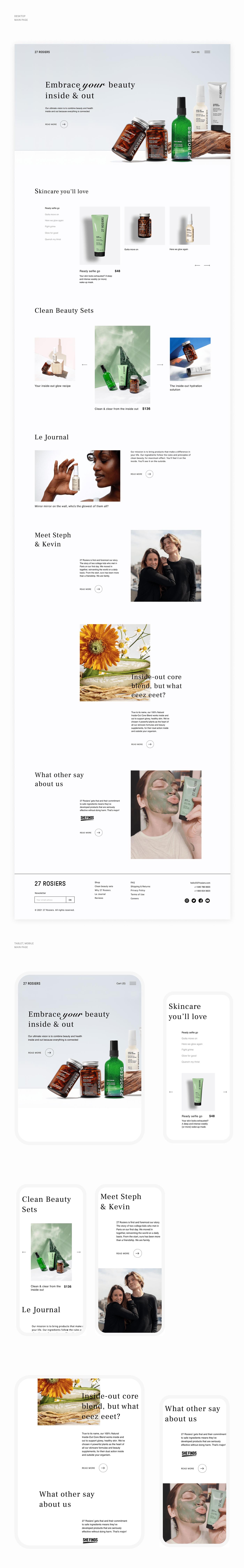 beauty e-commerce natural online store organic shop skincare UI Web Design  Website
