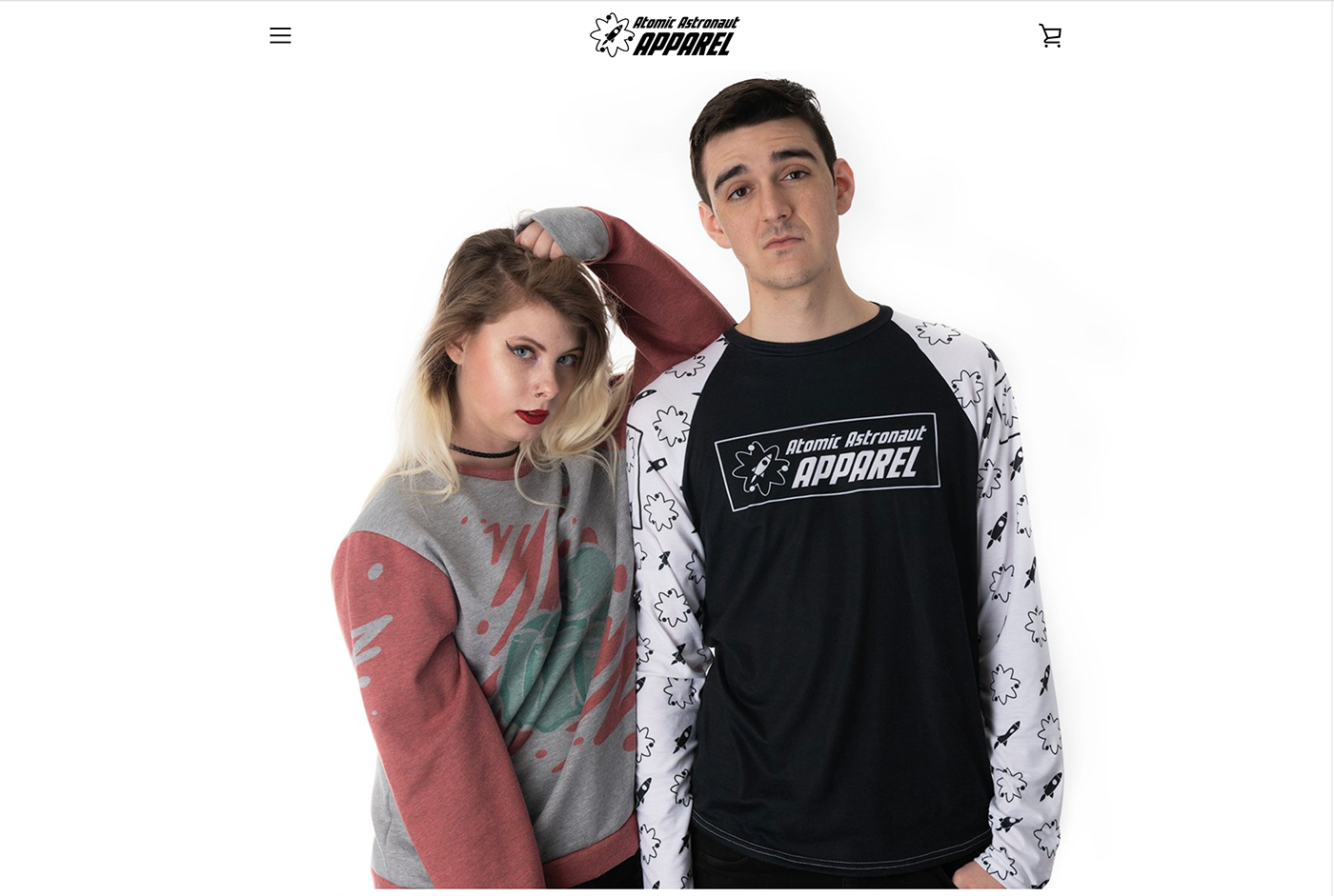 apparel campaign social media Atomic Astronaut streetwear clothes Web Design  Storefront photoshoot