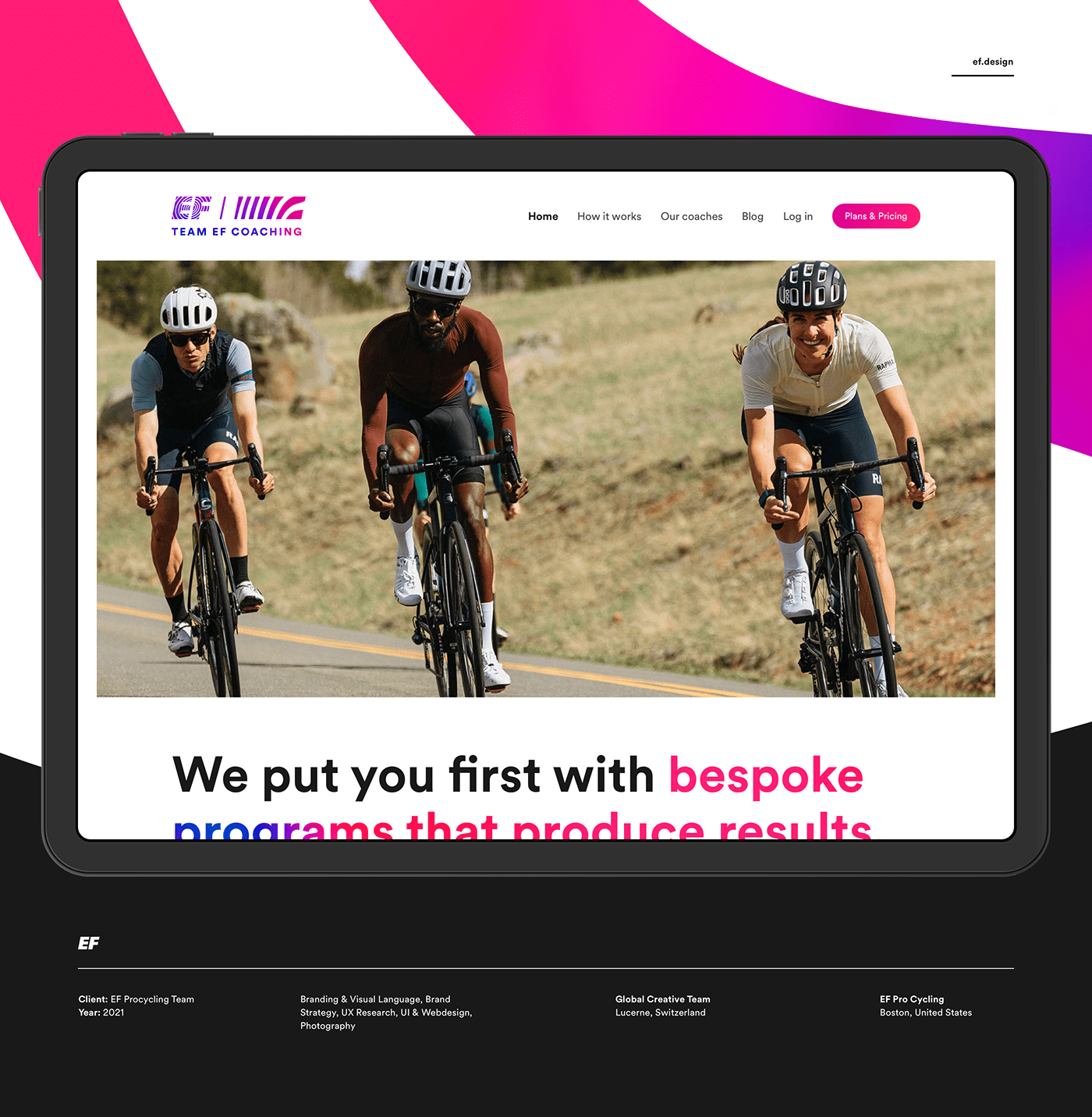 branding  clean coaching Cycling educationfirst efprocycling gradient minimal sports Webdesign