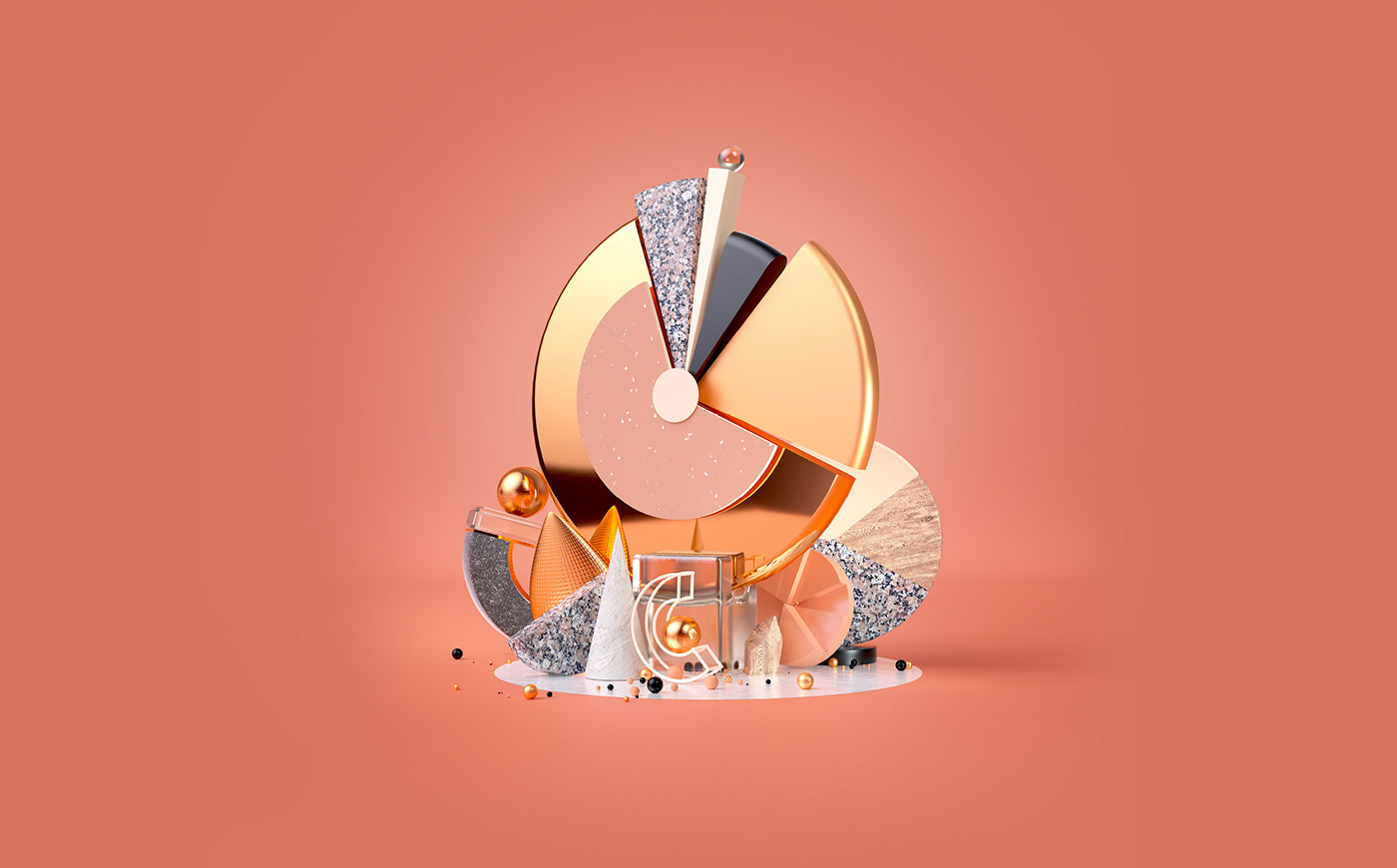 3D branding  chart Data gold graph Insight metallic texture typography