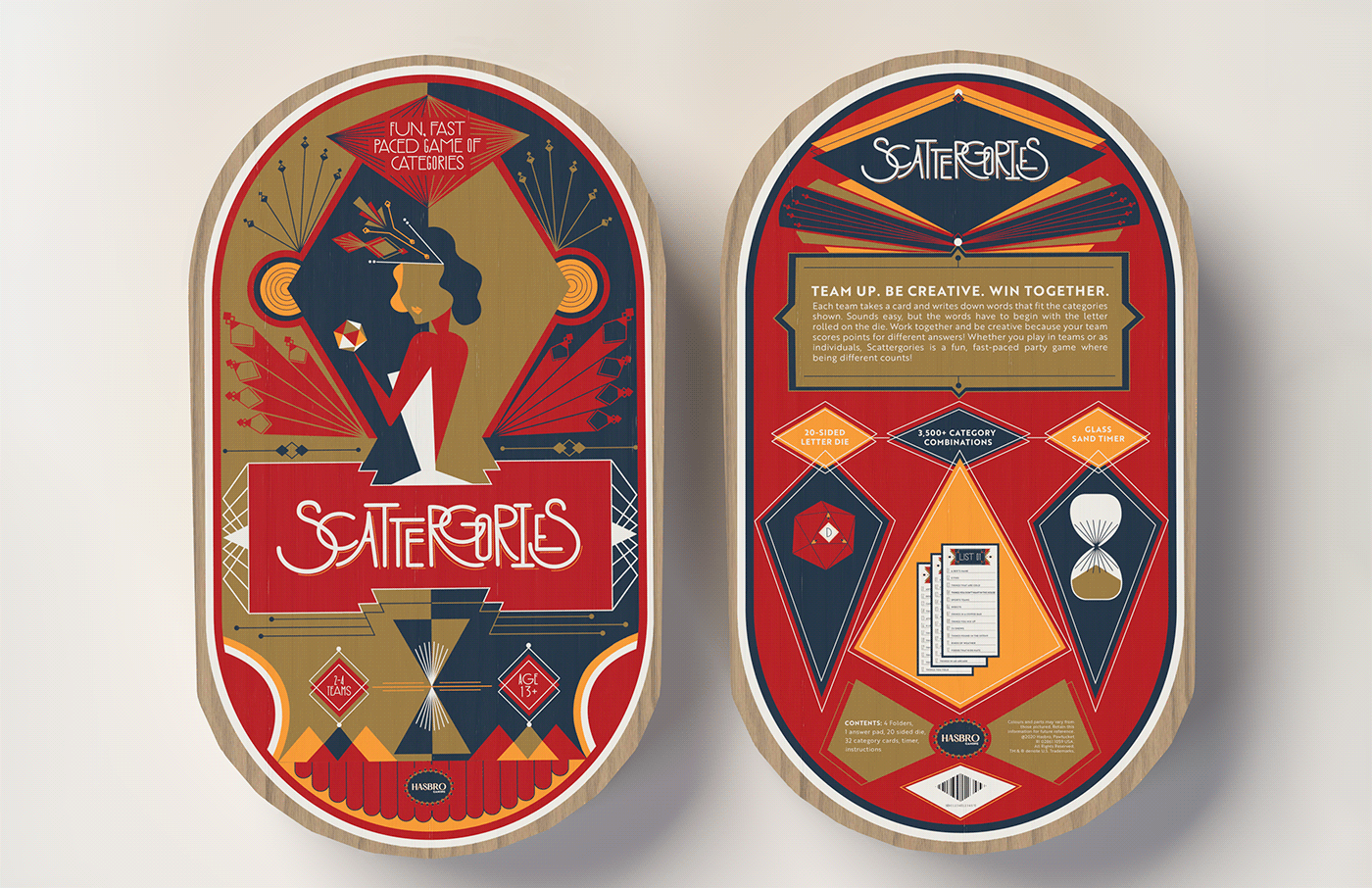 art deco board game dimensions game design  ILLUSTRATION  package design  Packaging scattergories