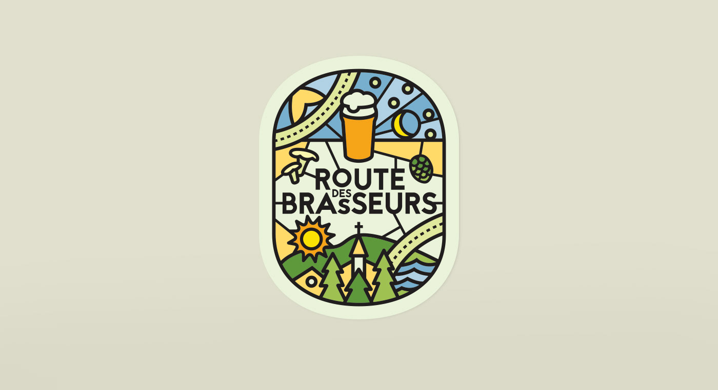 brewery beer branding  Label Packaging tourism Quebec local bière stainedglass