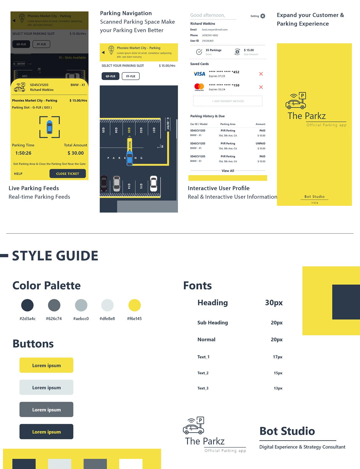 Interaction design  ui design app product design  parking Parking App prototype graphic design  business Car Parking