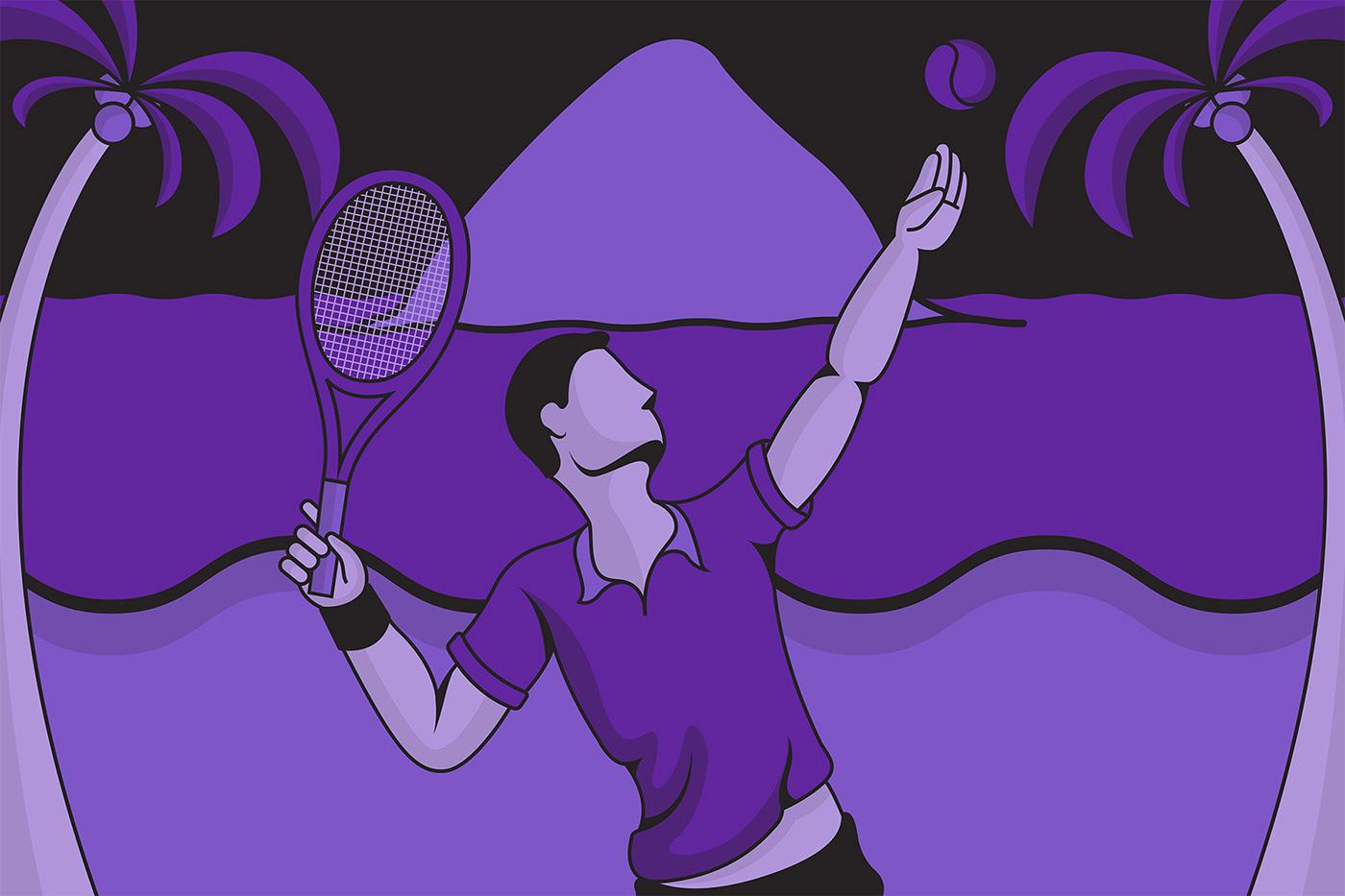 3D beach bold graphic design  iconography ILLUSTRATION  installation sports tennis graphics