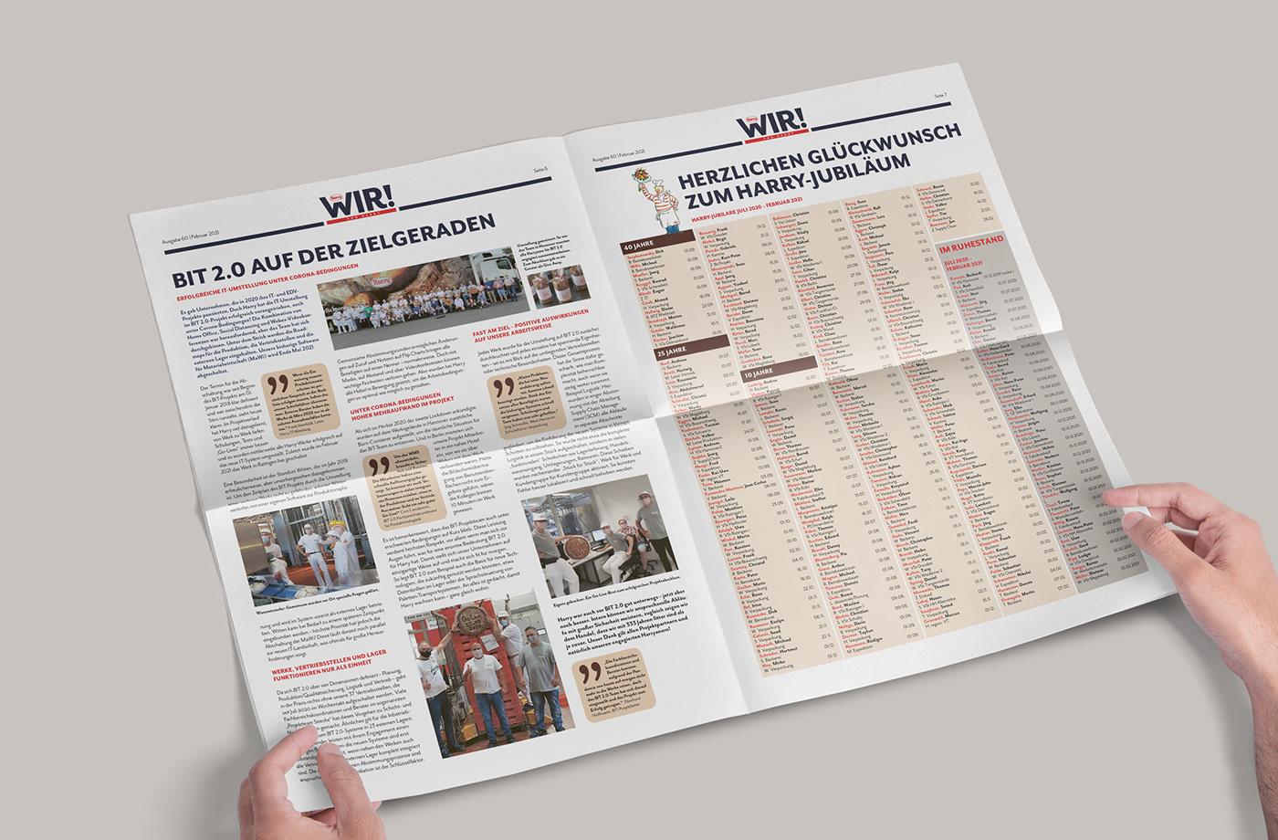 Branding design Corporate Design Drucksachen editorial design  Employee newspaper graphic design  Identity Design Mitarbeiterzeitung rotherdesign typograie