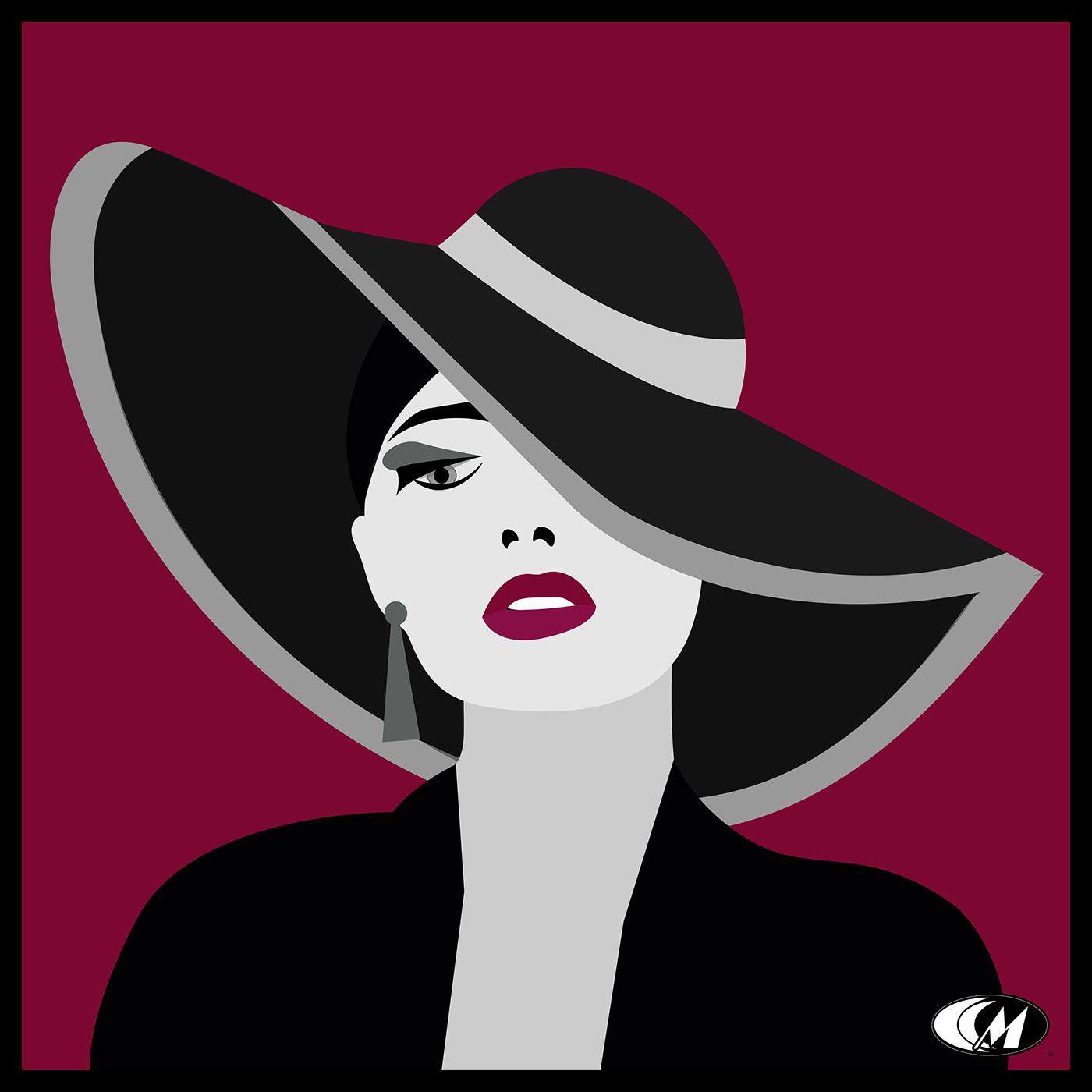 Fashion  ILLUSTRATION  graphic design  Freelance floppy hat beauty vector series