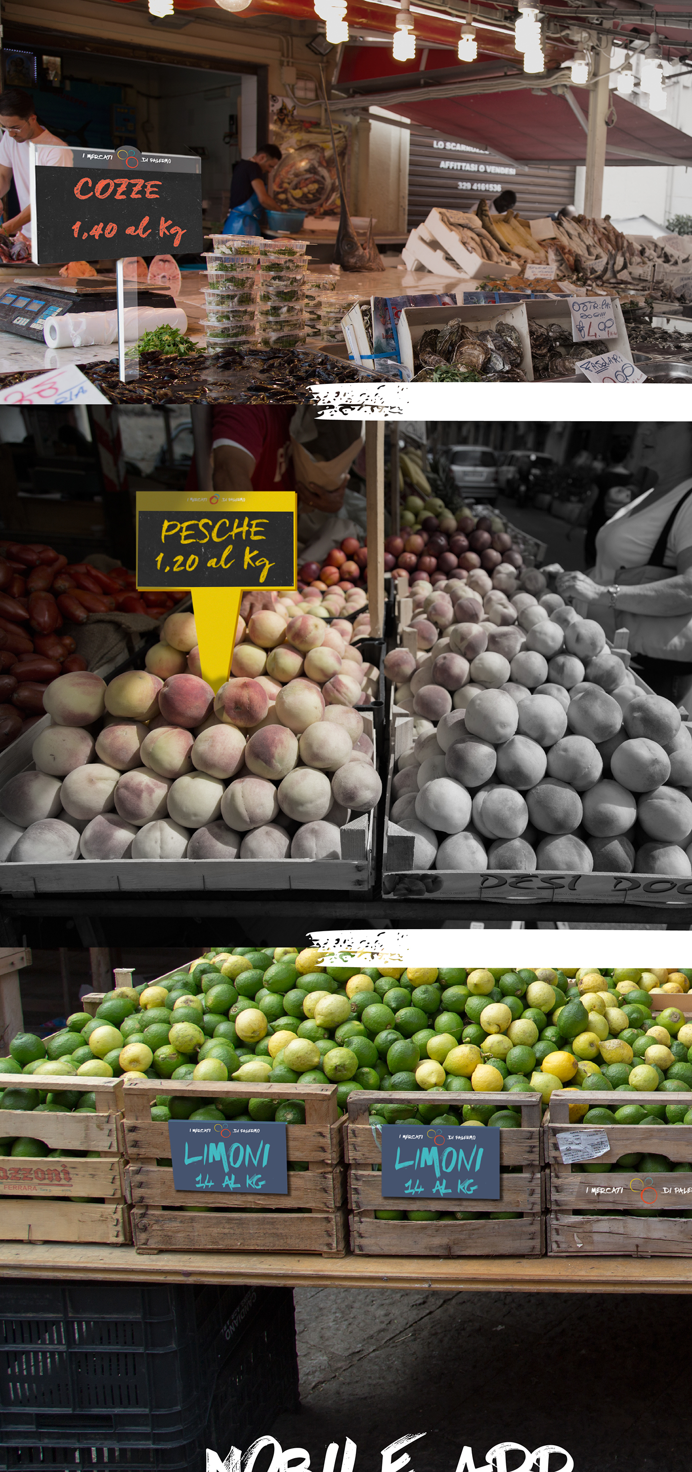 Logotype brand graphic design identity app user experience Food  market Palermo mercati ballarò Vucciria capo sicily