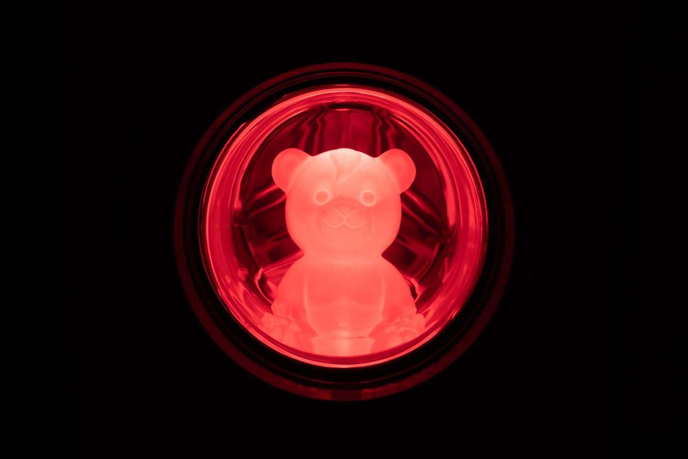 night bear toy Lamp red black longexposure