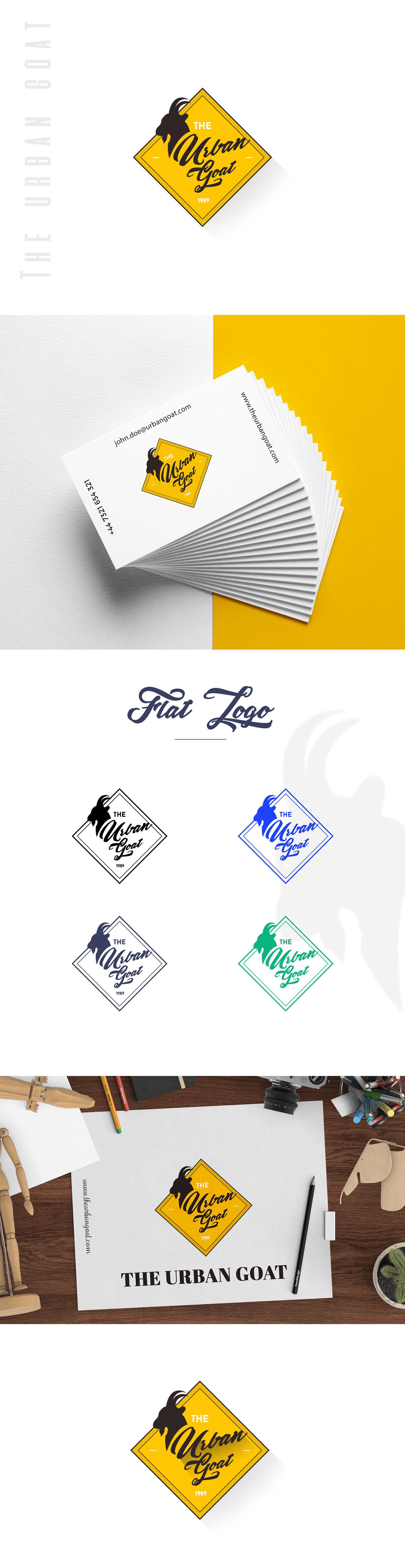 logo yellow logodesign UI ux branding  digital design design studio evalogical urban goat
