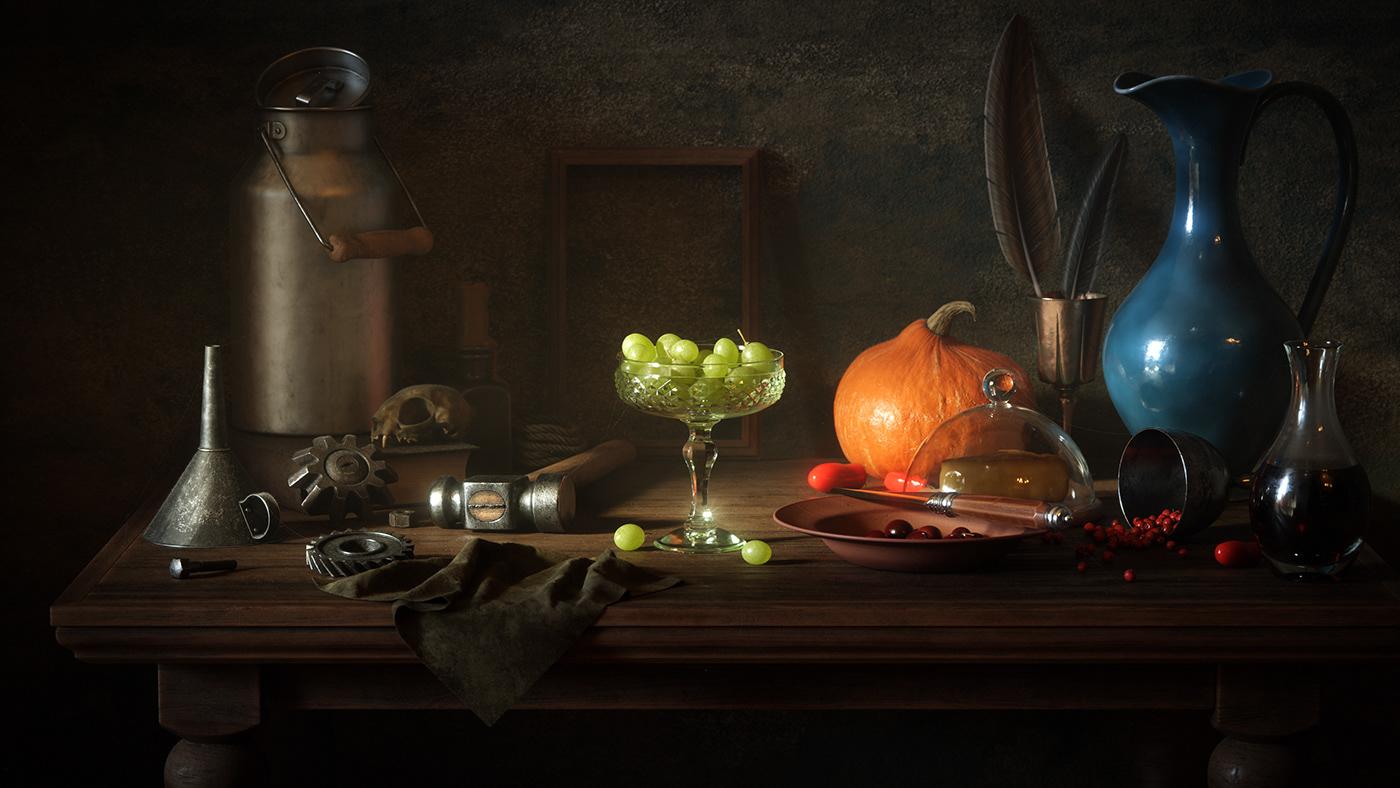 still life realistic hyperreal grapes pumpkin art Finearts worklife cinema 4d Raphael Rau