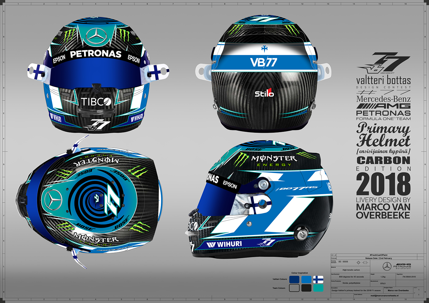 Valtteri Bottas Helmet Design Contest 2018 On Behance