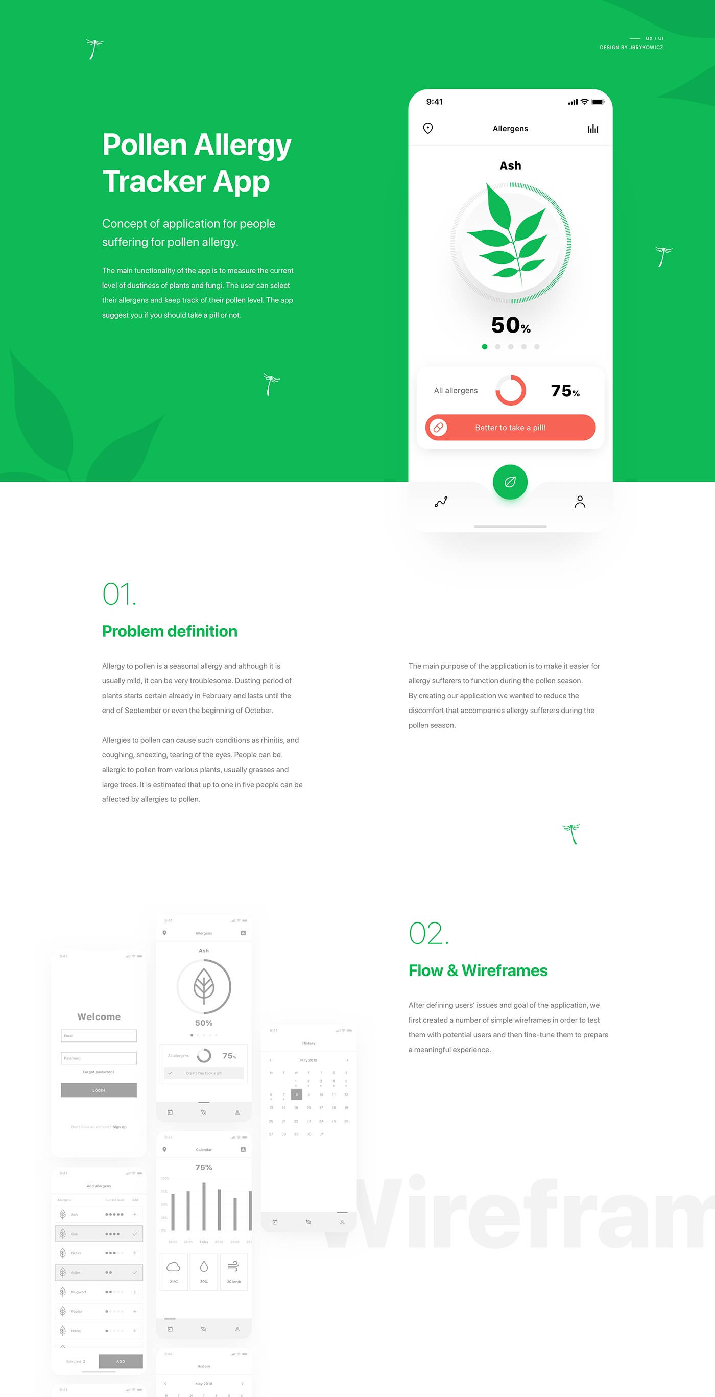 mobile app application pgs brykowicz UI ux interaction allergy tracker