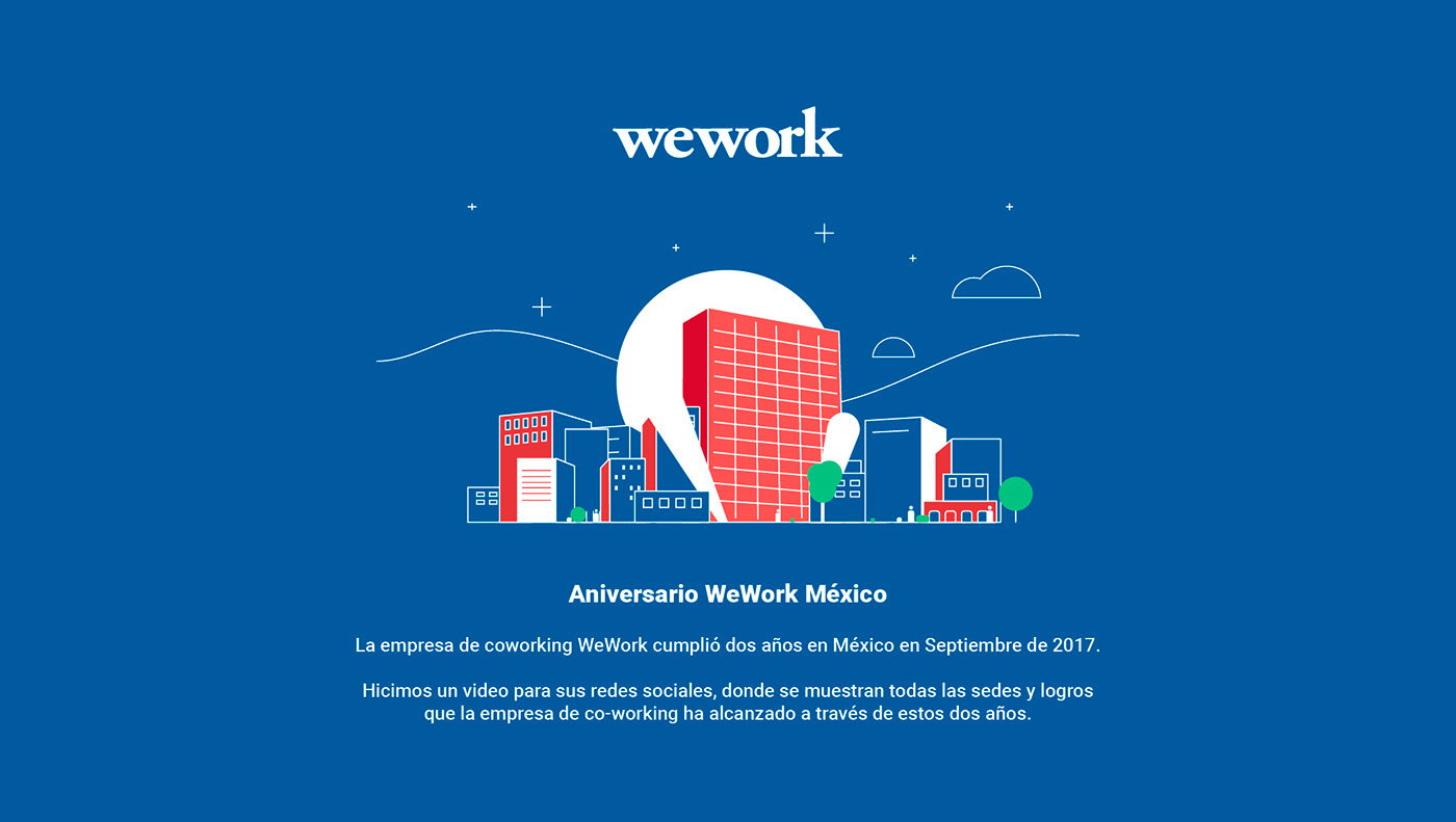 motion graphics  animacion 2d flat CDMX skyline city ilustracion Ciudad de México wework calavera creativa