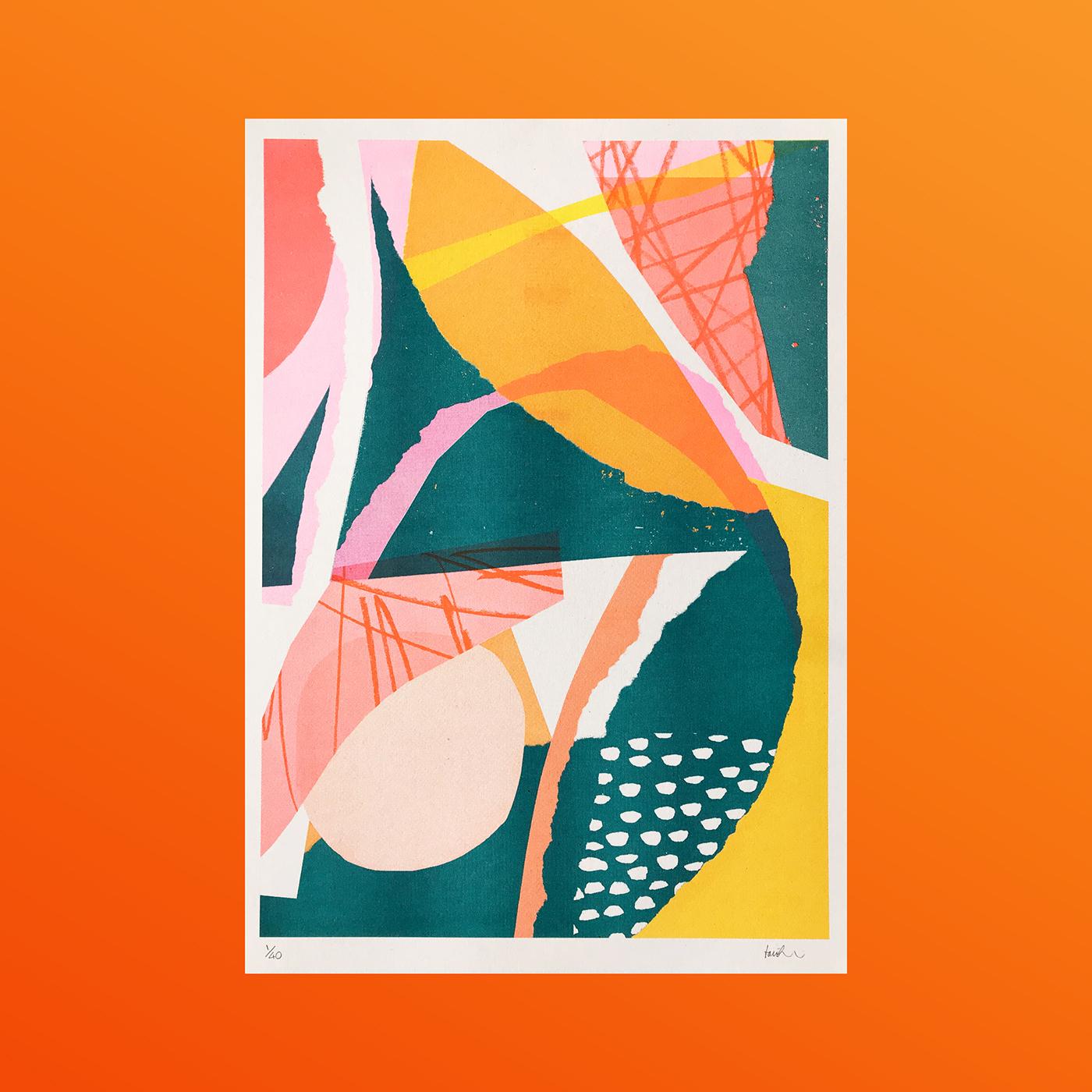 Riso risograph abstract contemporary art modern modern art print printmaking risography Abstract Art