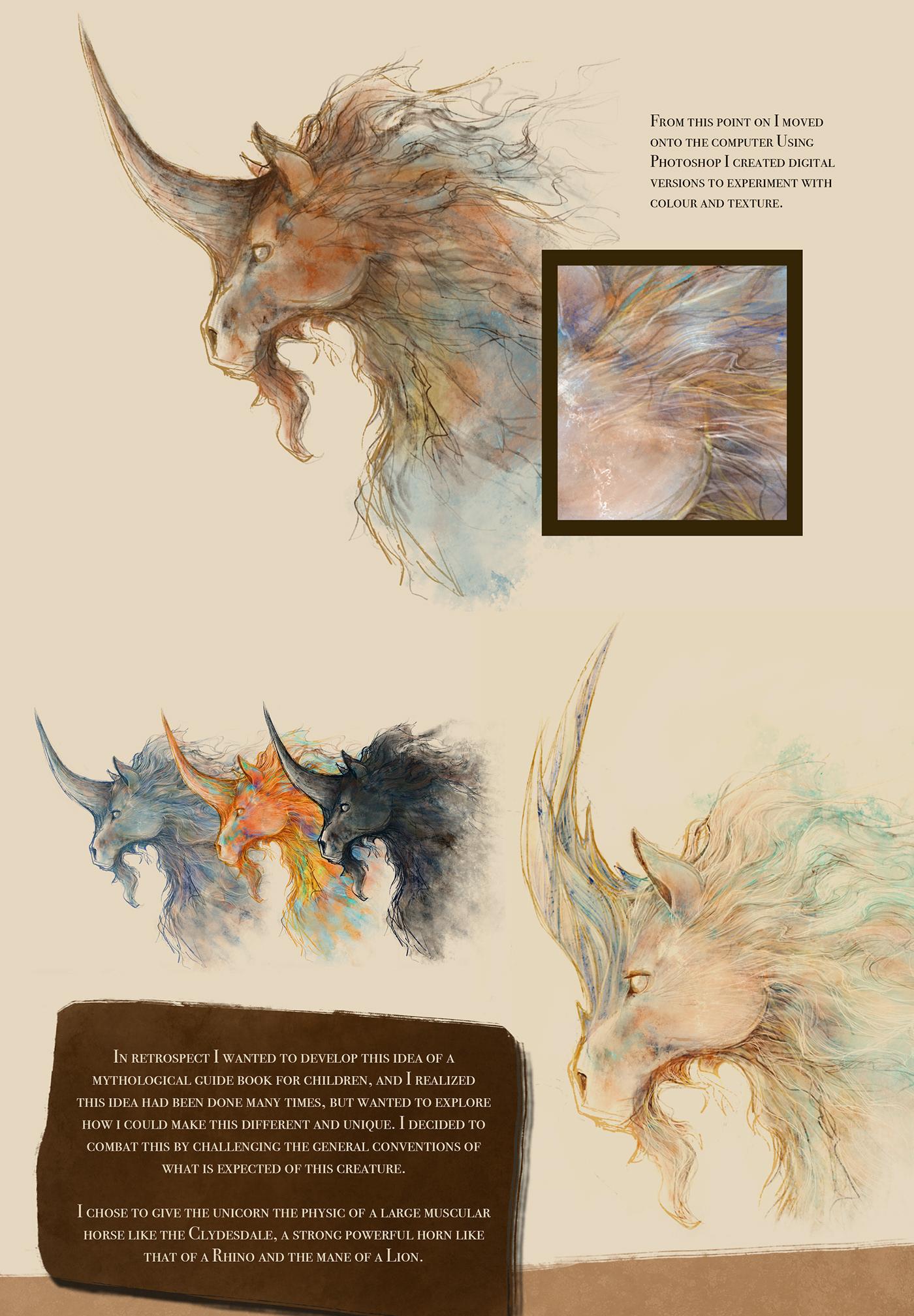 concept digital painting horse ILLUSTRATION  Magic   mythical photoshop scotland unicorn waterfall