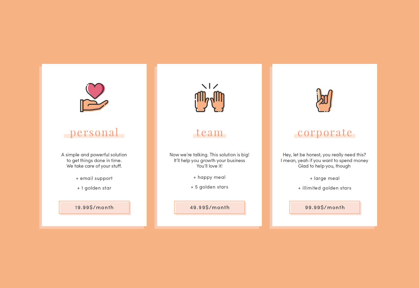 Pricing card UI ux Interface Web design
