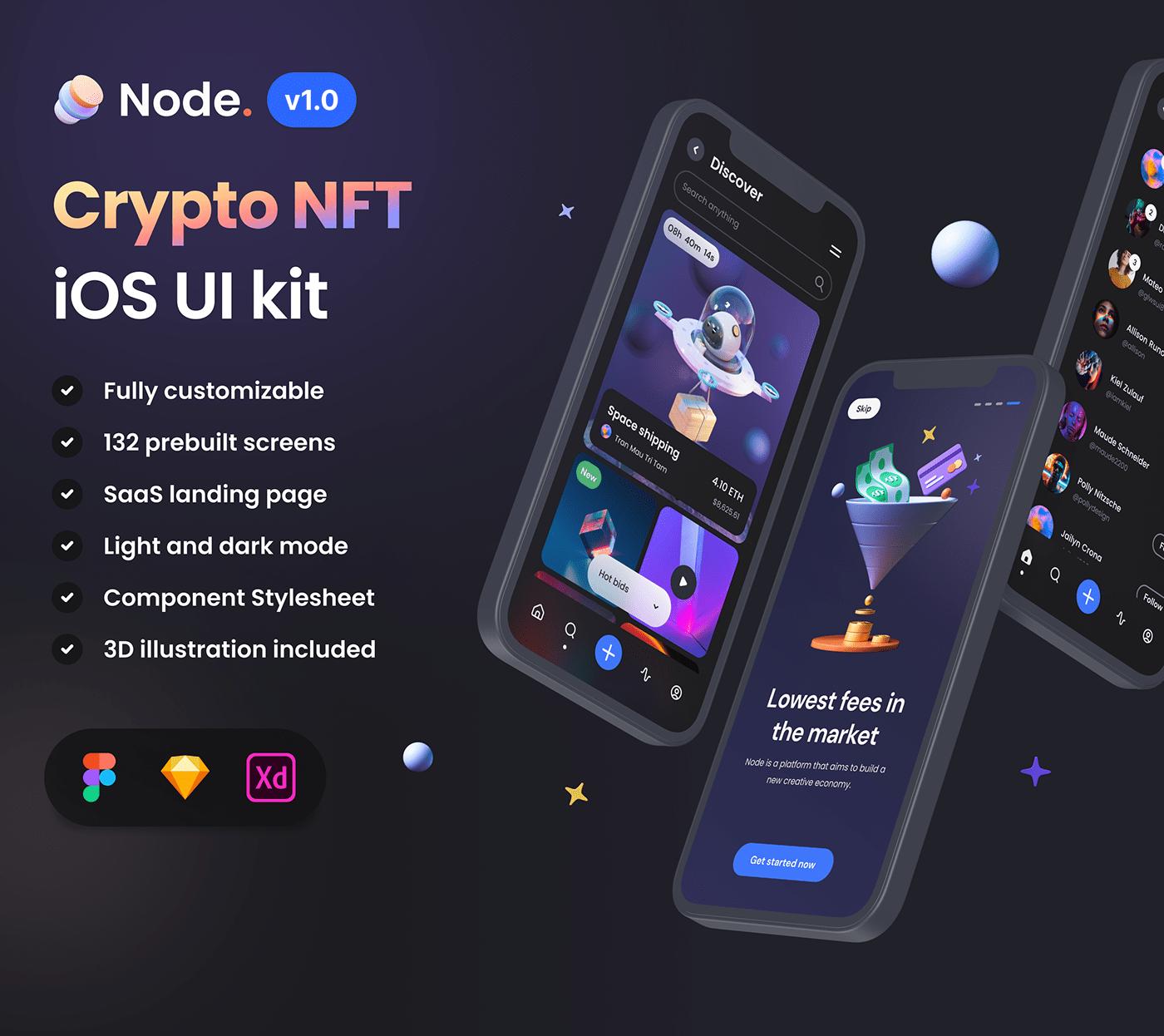app crypto download exchange figma resource ios mobile Mobile app nft ui kit