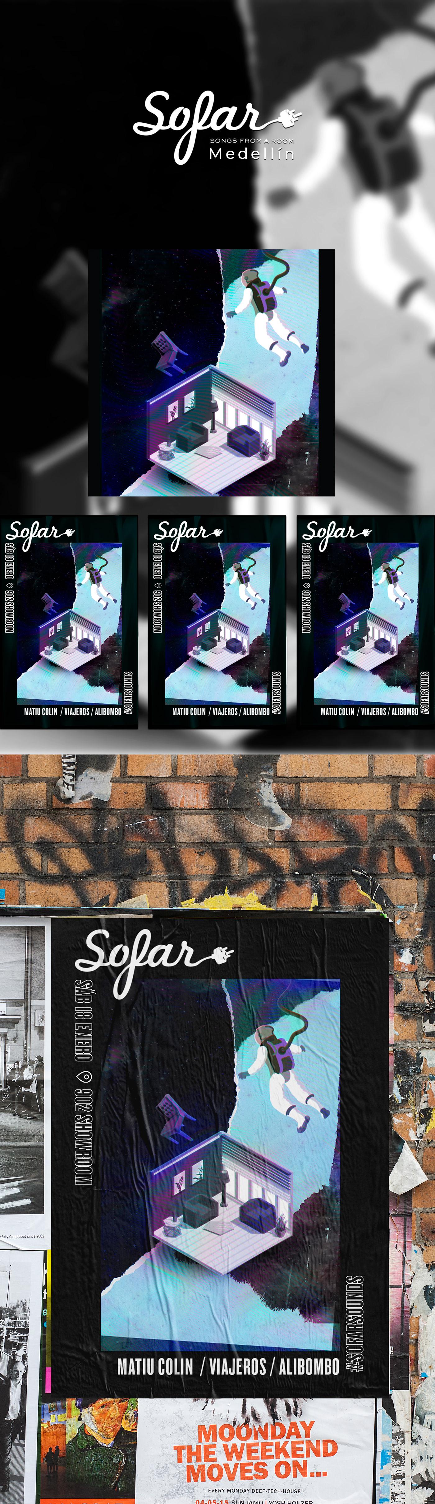 collage Digital Art  Glitch Graphip design  indie music musica poster Poster Design universe