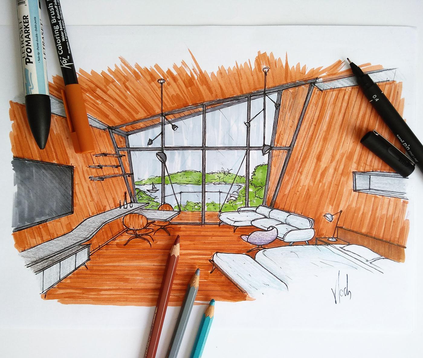 精緻的19款室內設計手繪欣賞