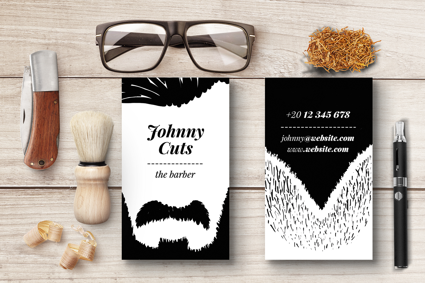 The barber business cards templates on behance choose your hairstyle and your beard then edit your name and youre done customize the business card to match your style you have 25 variations possible fbccfo