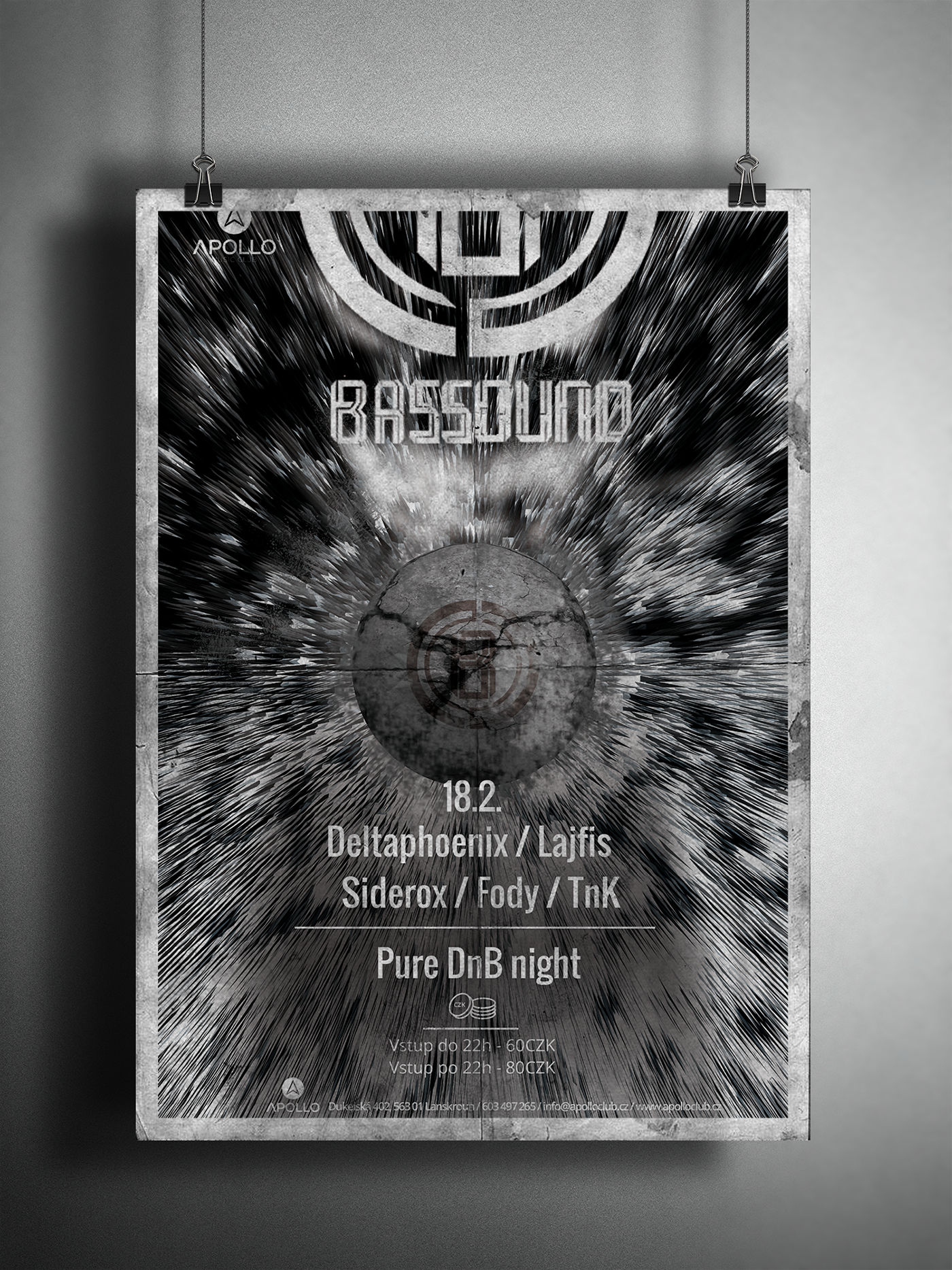 Bassound party Event poster black White