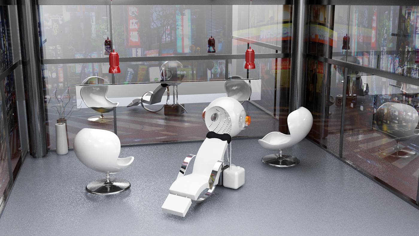 hairwasher Rhino 3dmodeling Rhinoceros robot machine concept design chair