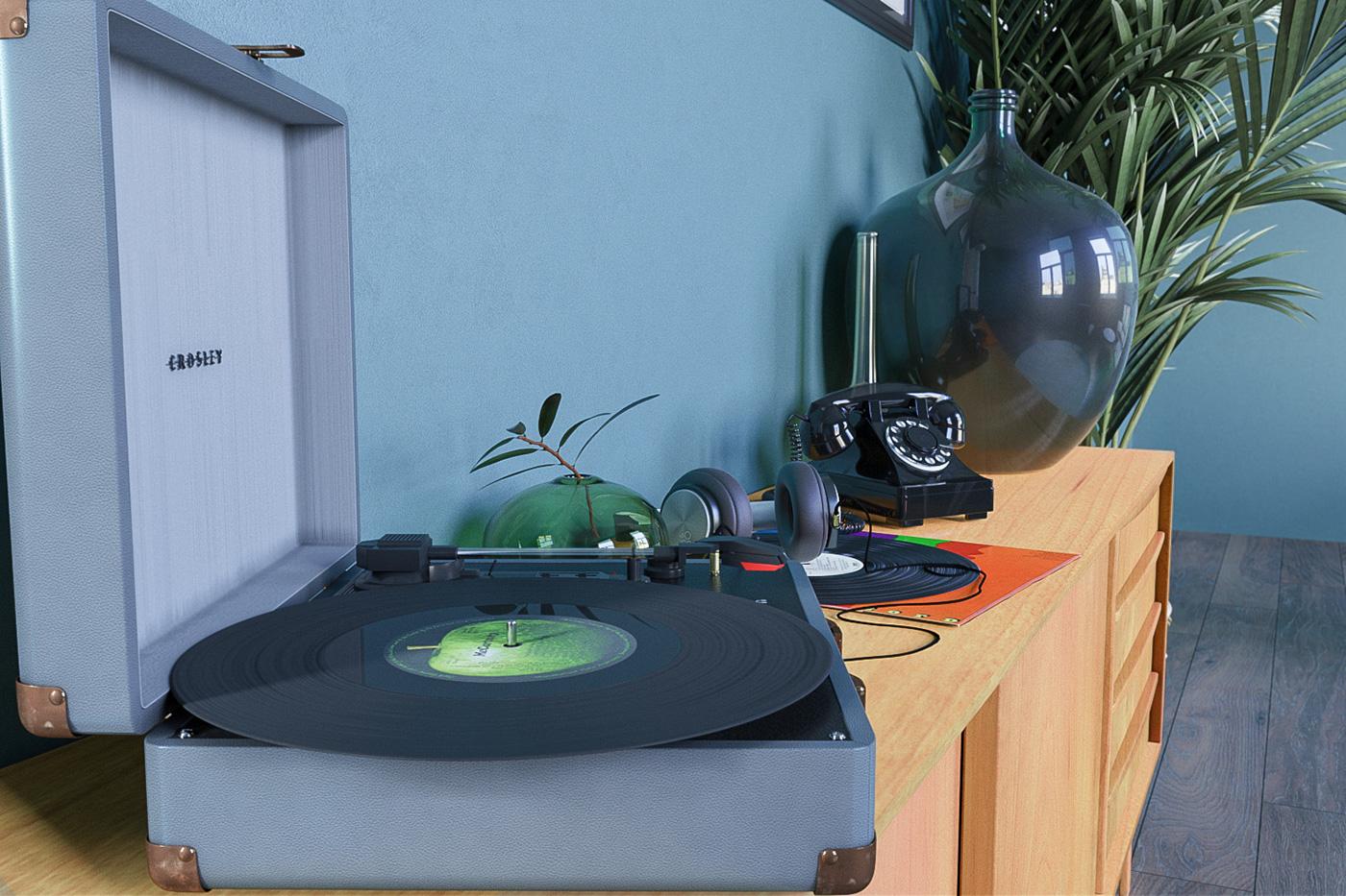 vinyl Retro MID pop credenza