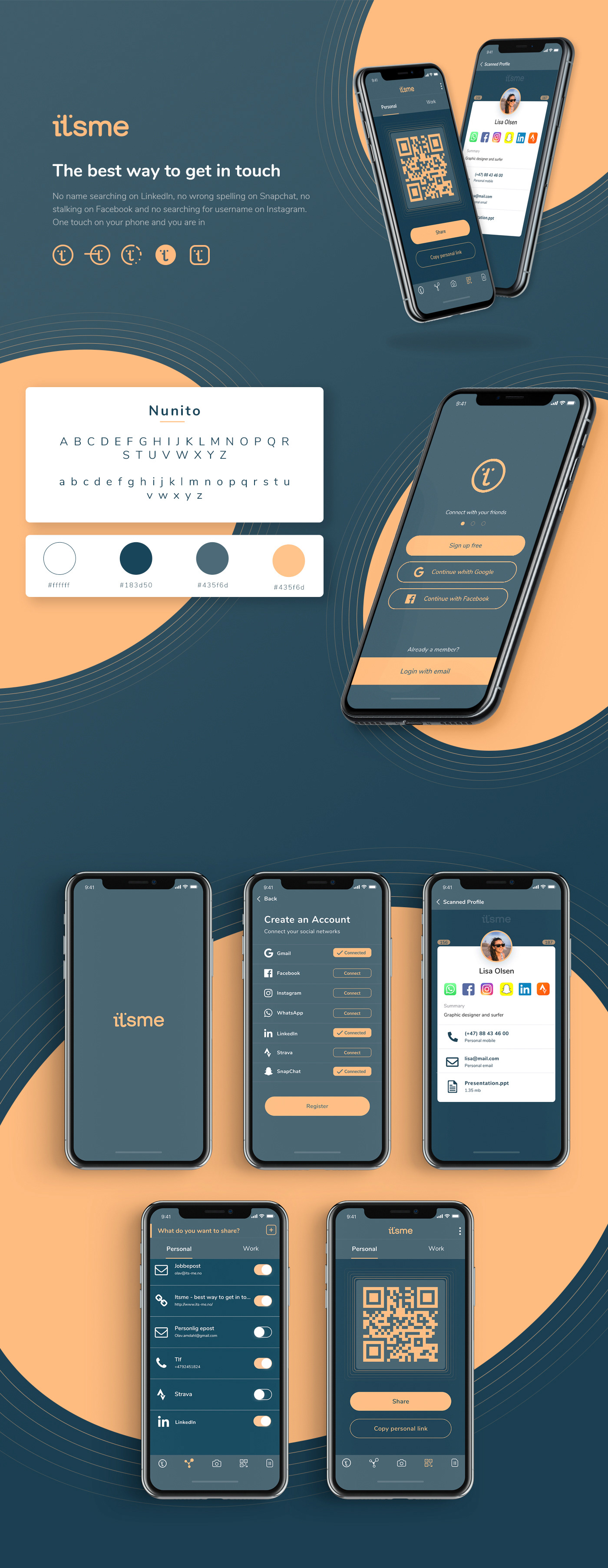 Business card scanner app Contact Management app App for sharing social media accounts social media QR code app